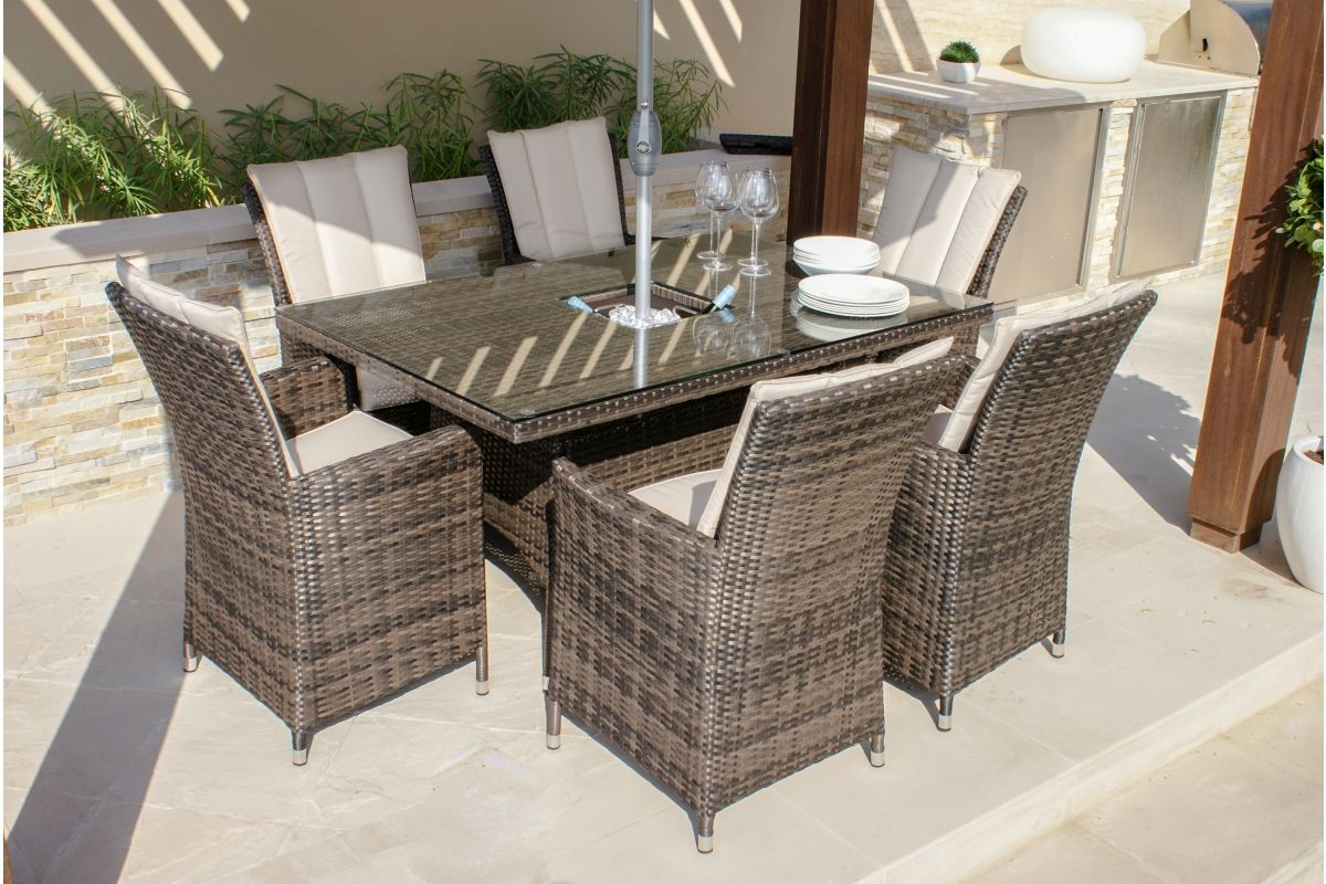 Current Maze Rattan – La 6 Seat Rectangular Dining Set – With Ice With Contemporary 6 Seating Rectangular Dining Tables (Gallery 17 of 30)