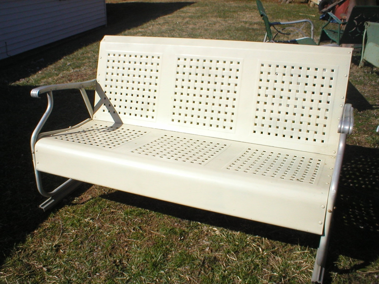 Current Metal Retro Glider Benches Within Vintage Metal Porch Glider Parts — Randolph Indoor And (View 6 of 30)
