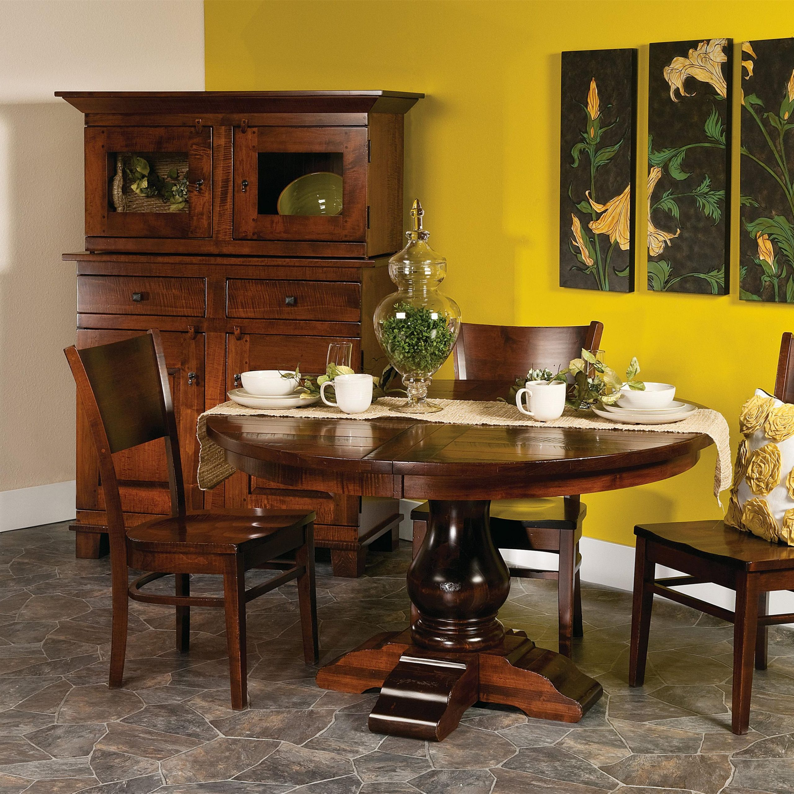 Current Morris Round Dining Tables Pertaining To Amish Impressionsfusion Designs Wellington 5 Pc. 48 (Gallery 16 of 30)