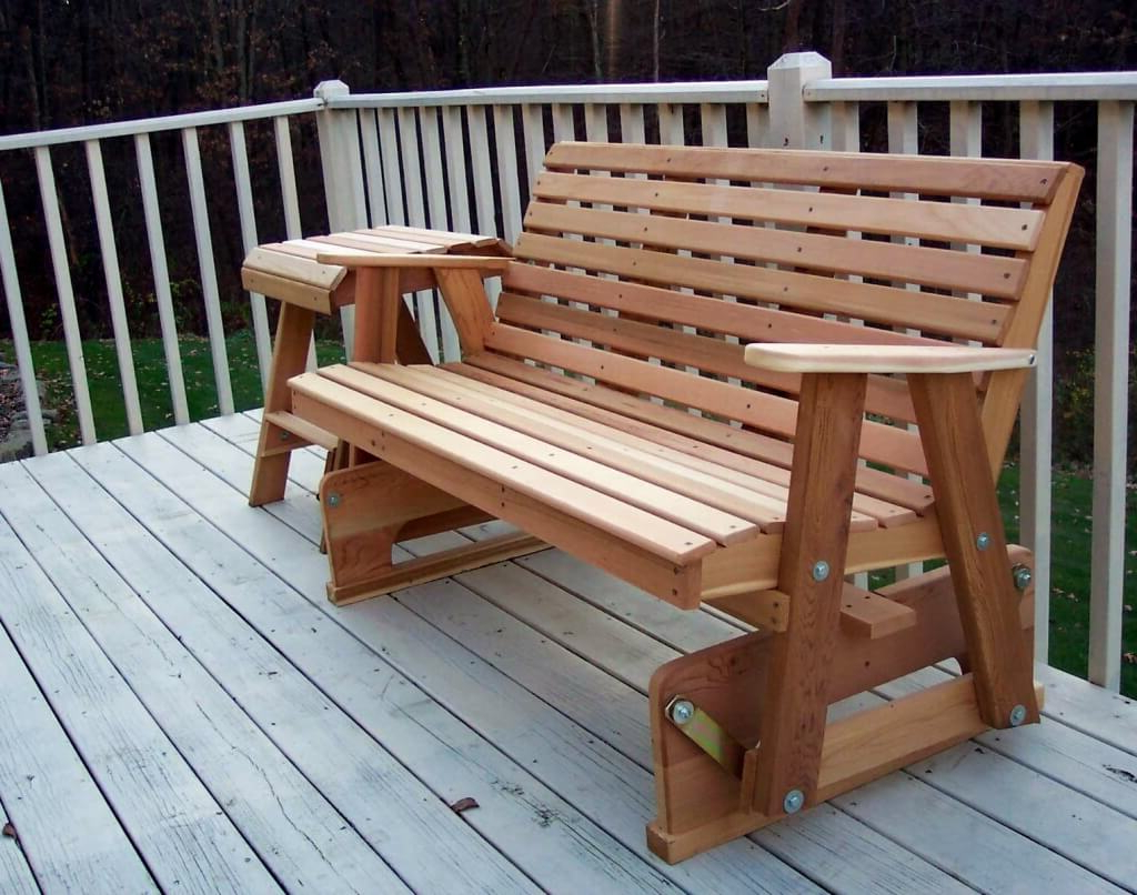 Current Outdoor Patio Swing Glider Bench Chairs With Furniture: Natural Wood Porch Glider For Interesting Outdoor (Gallery 20 of 30)
