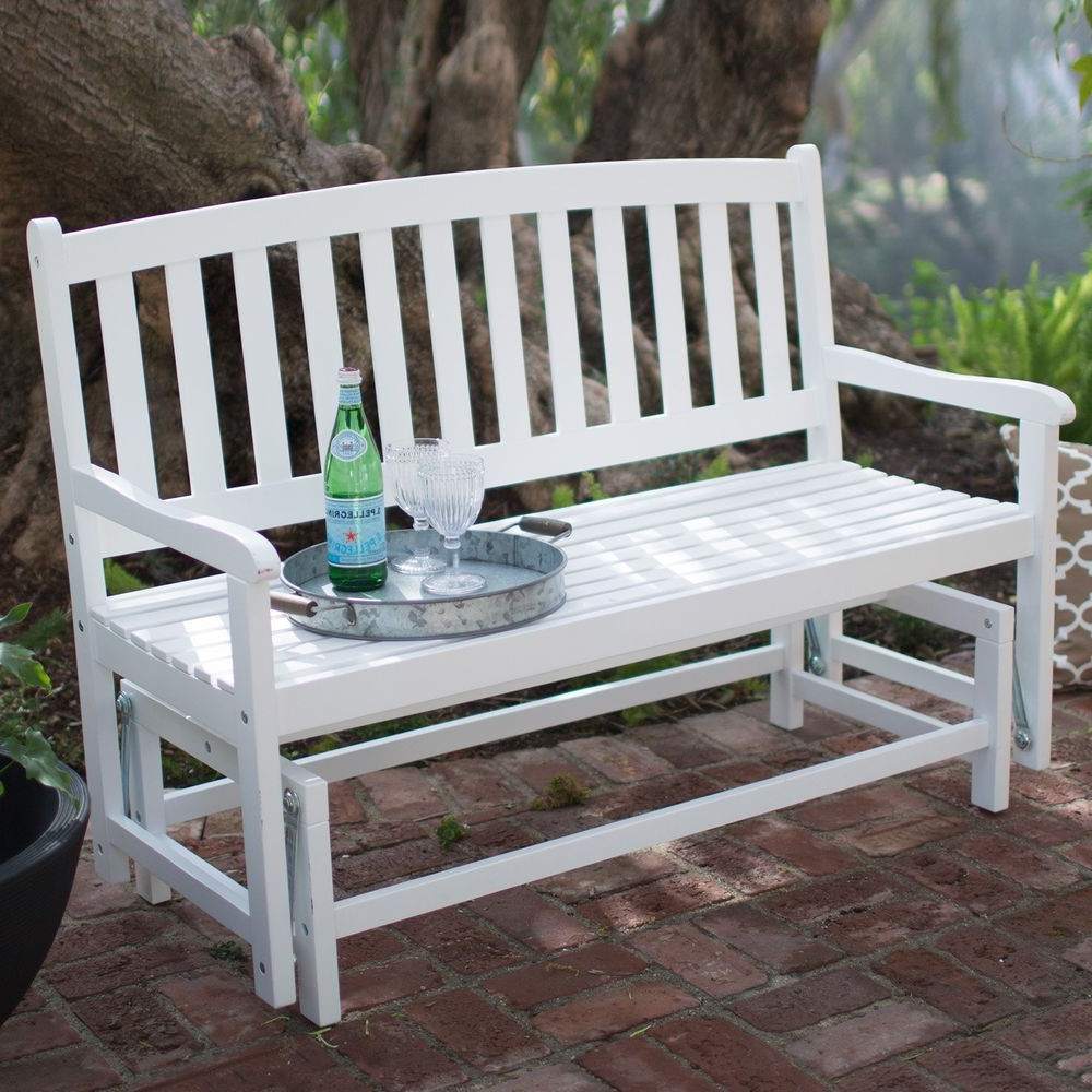 Current Outdoor Patio Swing Glider Bench Chairs With Outdoor Glider Bench 4 Foot Wood Garden Porch Seat Patio (View 25 of 30)