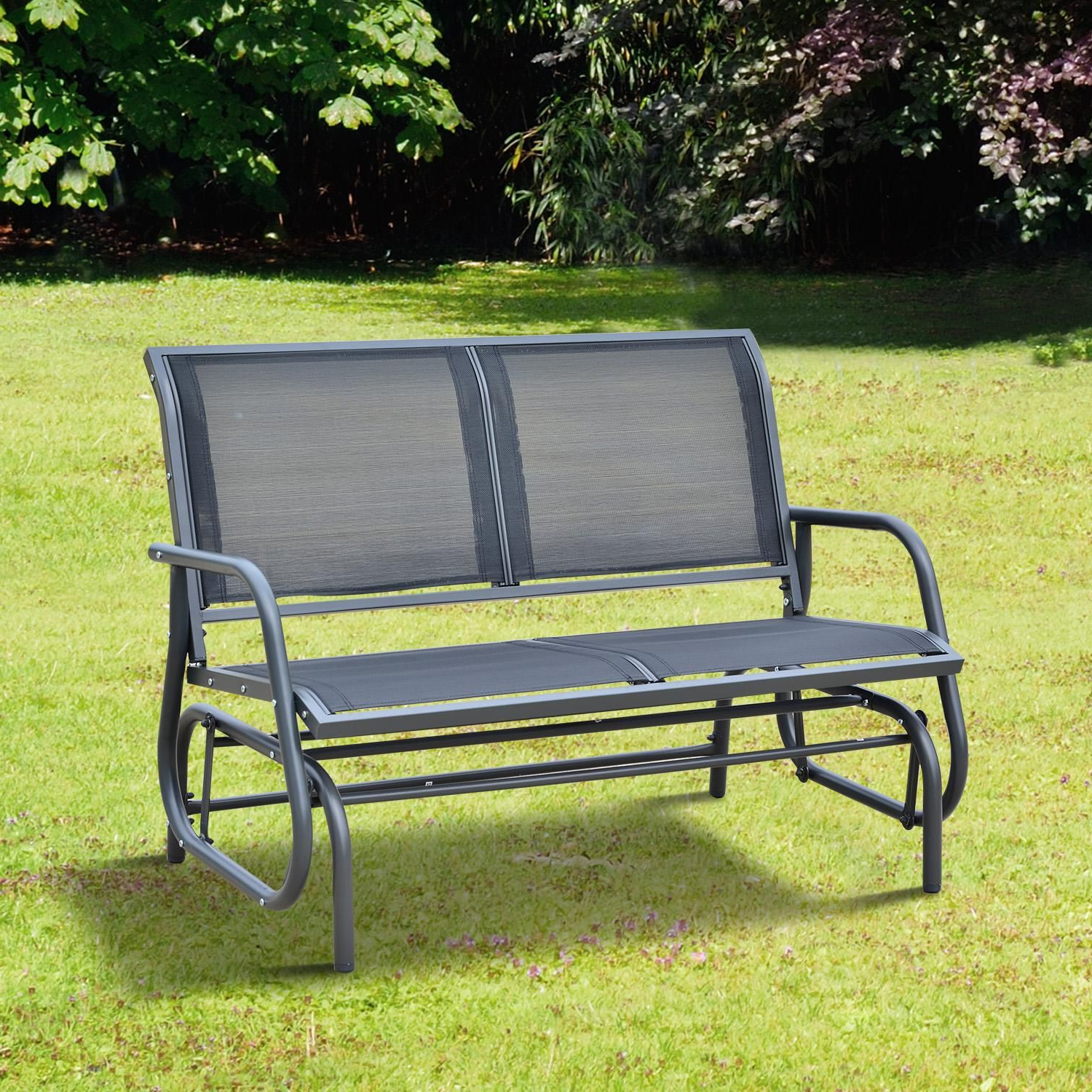 """Current Outsunny 48"""" Outdoor Patio Swing Glider Bench Chair – Dark Throughout Outdoor Patio Swing Glider Benches (Gallery 5 of 30)"""