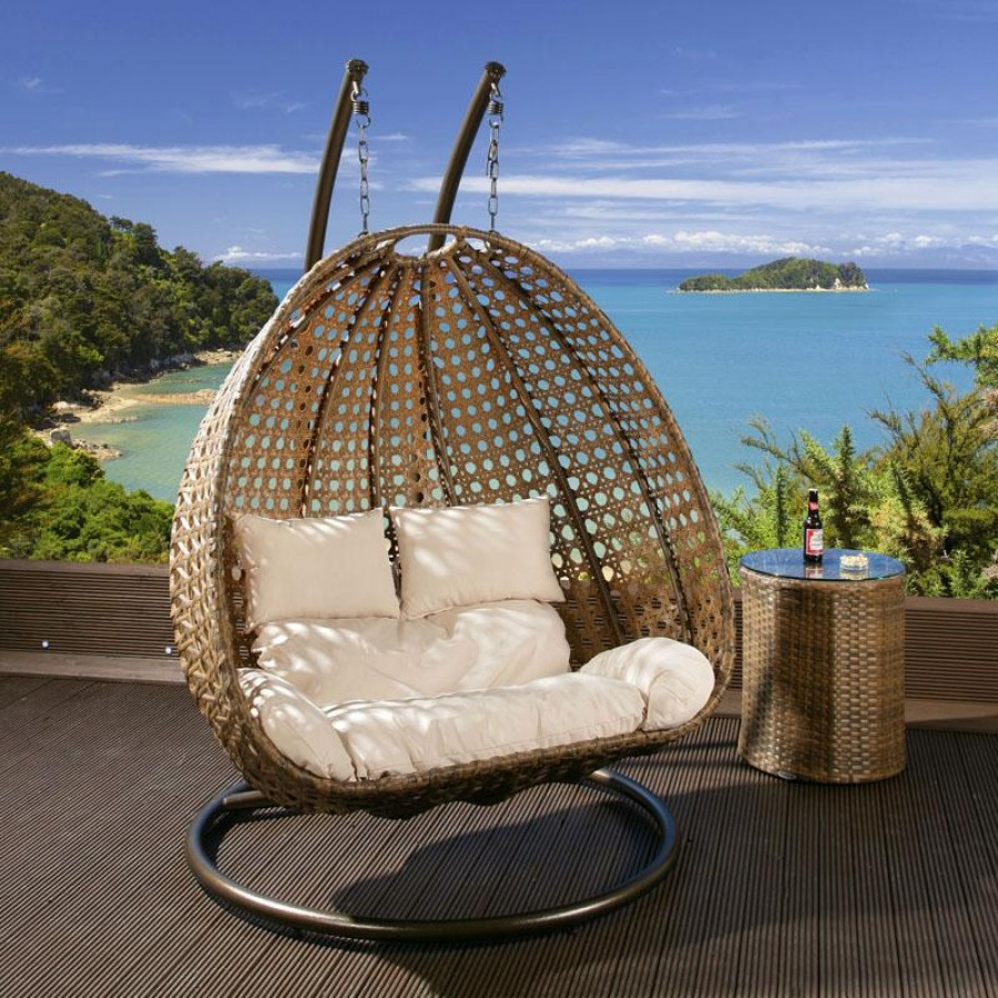 Current Rattan Garden Swing Chairs With Outdoor 2 Person Garden Hanging Chair Brown Rattan – (Gallery 10 of 31)