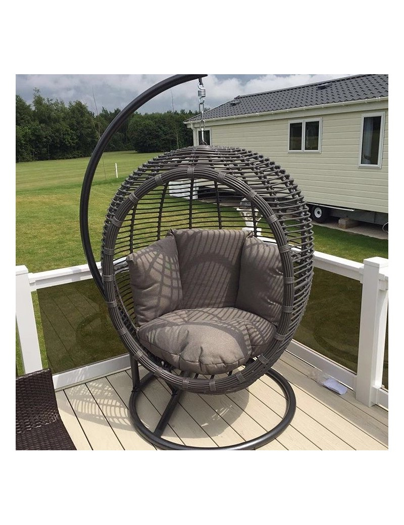 Current Rattan Garden Swing Chairs With Regard To Large Luxurious Grey Rattan/wicker Garden Hanging Pod Chair/swing With Comfort Cushion (Gallery 4 of 31)