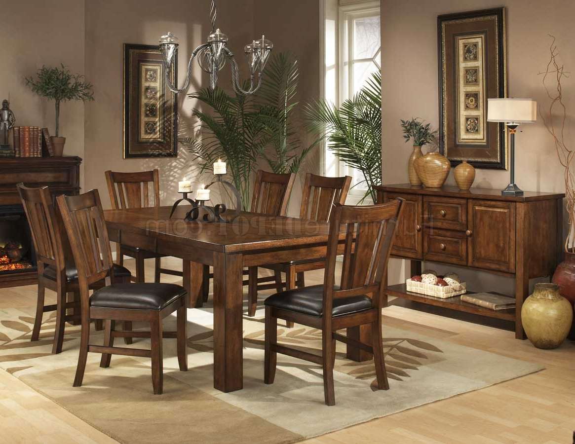 Current Transitional 6 Seating Casual Dining Tables Regarding Dark Oak Finish Casual Dining Table W/optional Chairs (View 6 of 30)