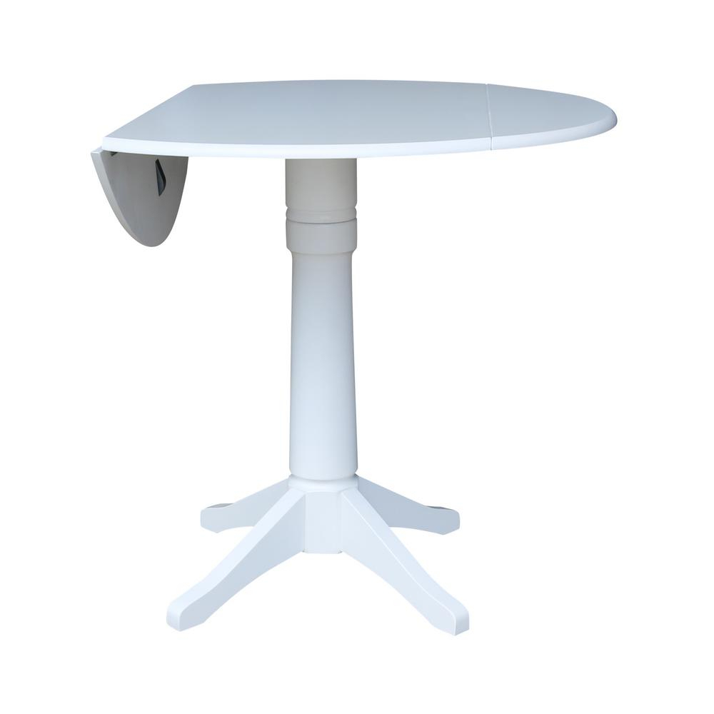 Current Unfinished Drop Leaf Casual Dining Tables Pertaining To International Concepts Olivia White 42 In (View 13 of 30)