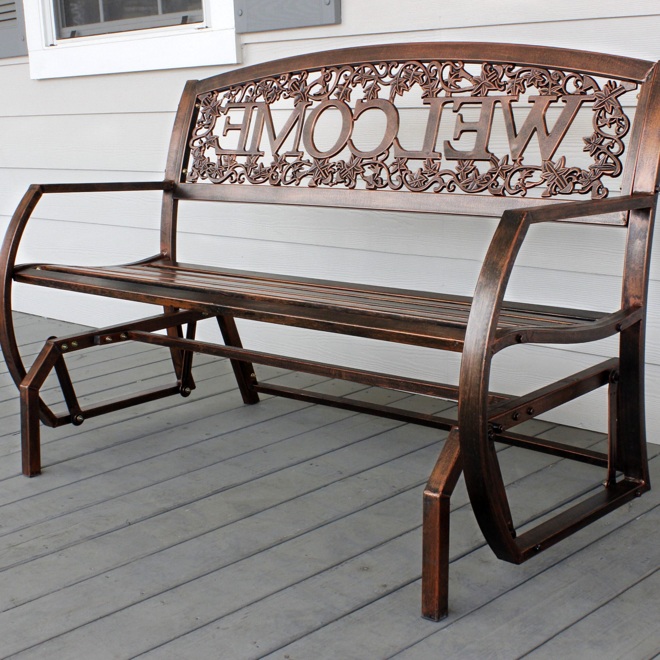 Current Winston Porter Ohanko Welcome Double Glider Bench & Reviews With Regard To Metal Powder Coat Double Seat Glider Benches (View 4 of 30)