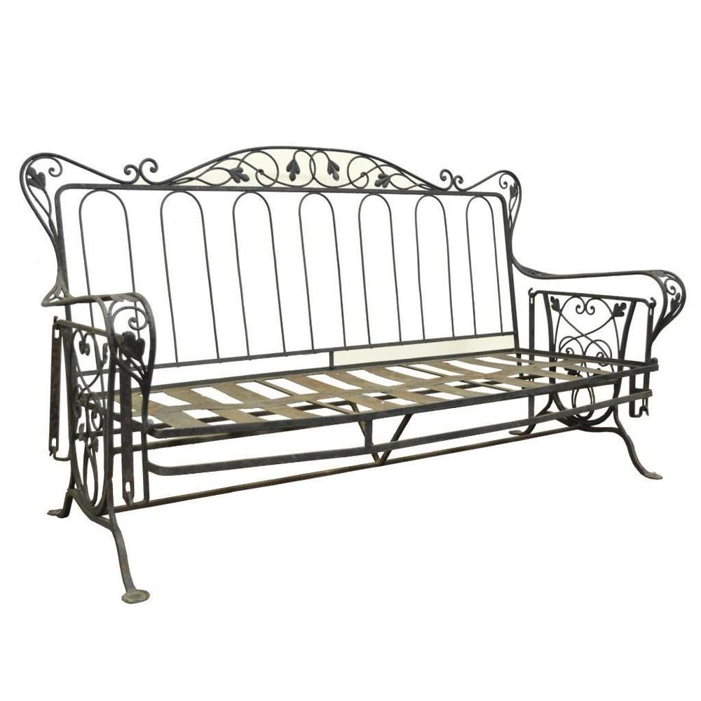 Cushioned Glider Benches With Cushions Throughout Most Popular Vintage Wrought Iron Outdoor Patio Glider Swing Sofa (Gallery 13 of 30)