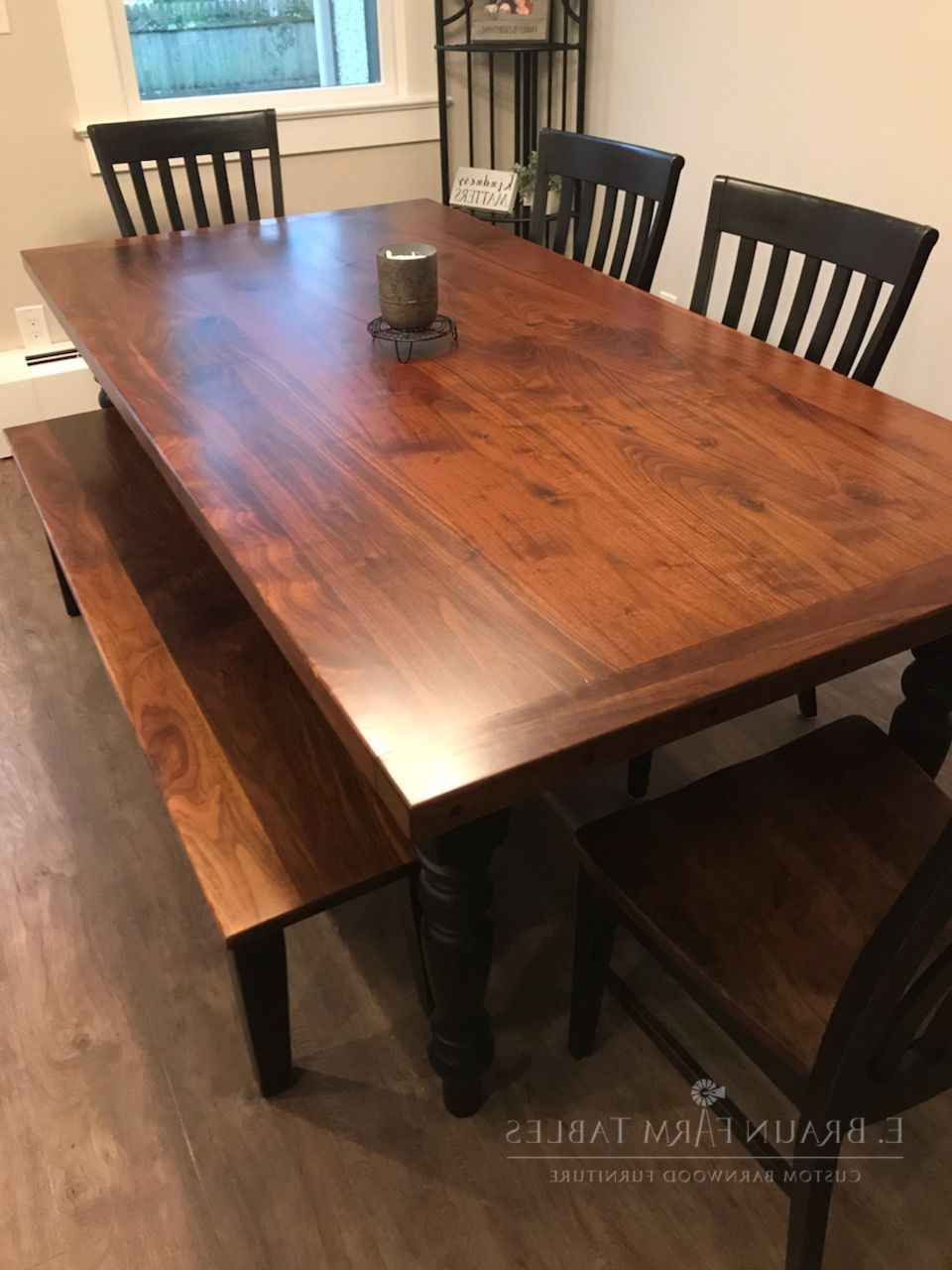 Custom Farmhouse Table – Gorgeous Black Walnut Table Top And Intended For Well Liked Distressed Walnut And Black Finish Wood Modern Country Dining Tables (View 5 of 30)