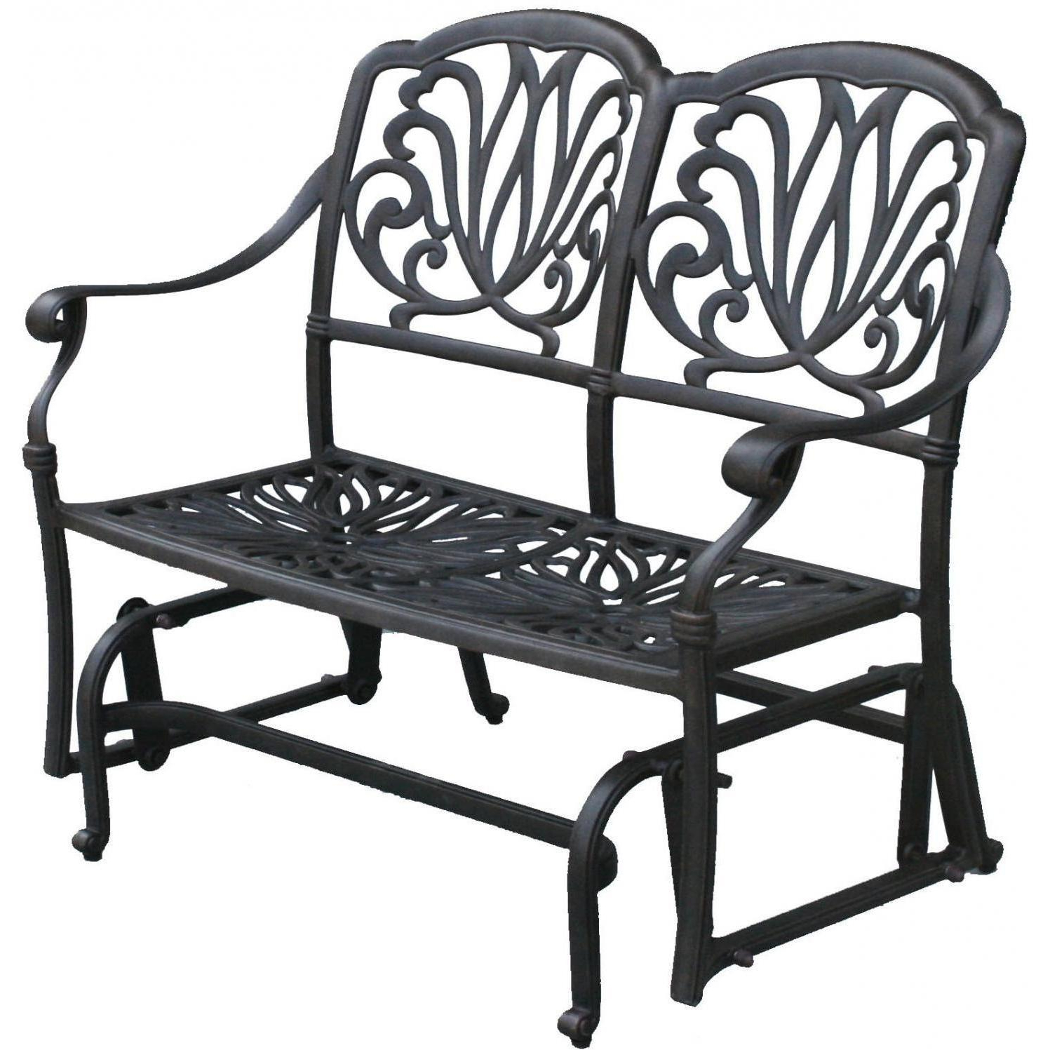 Darlee Elisabeth 2 Piece Cast Aluminum Patio Bench Glider Intended For Fashionable Black Steel Patio Swing Glider Benches Powder Coated (View 10 of 30)