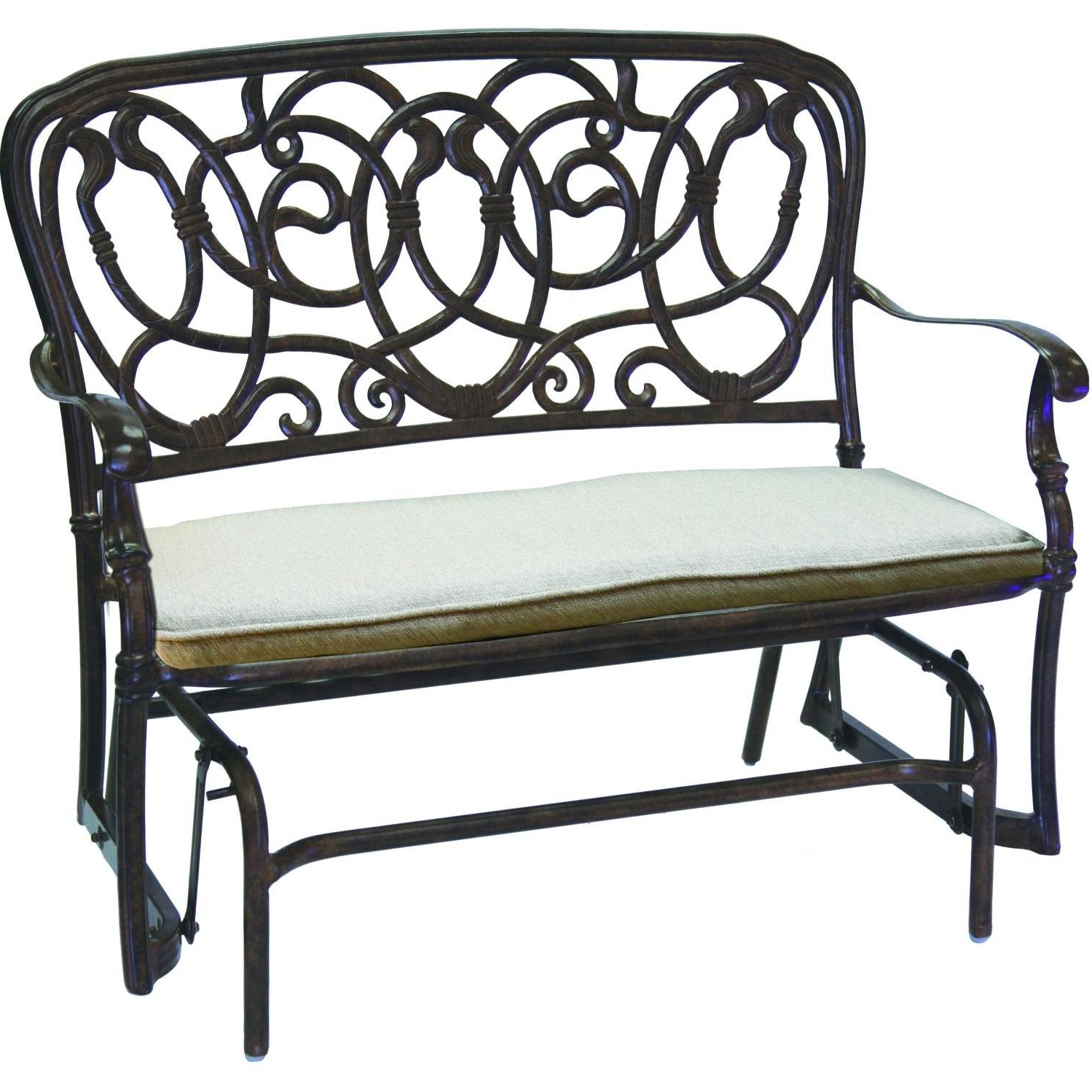 Darlee Florence 2 Piece Cast Aluminum Patio Bench Glider Conversation  Seating Set – Antique Bronze Regarding Widely Used Aluminum Glider Benches With Cushion (View 13 of 30)