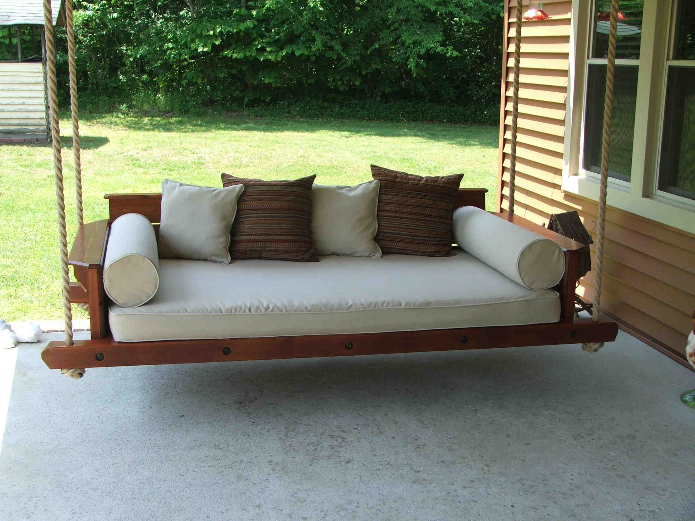 Day Bed Porch Swings Pertaining To Fashionable Scenic Swinging Porch Bed Rustic Farmhouse Hanging Swing (View 7 of 30)