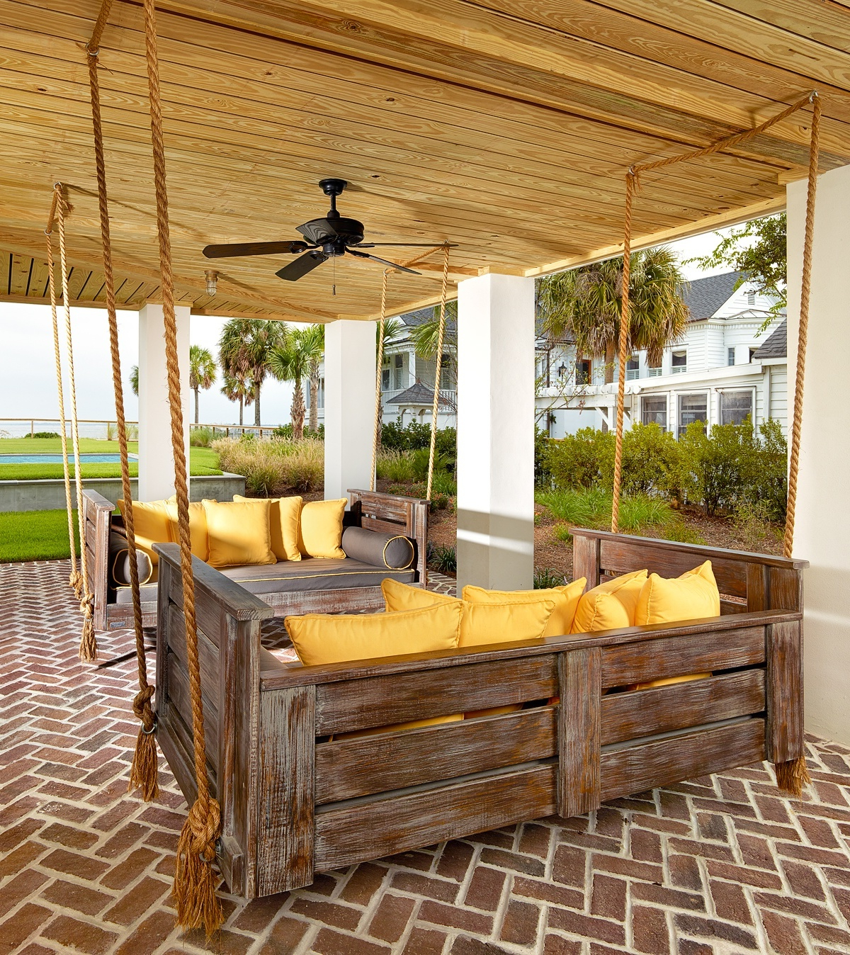 Day Bed Porch Swings Within Recent Inspirations: Enjoy Your All Day With Cozy Wooden Porch (View 24 of 30)