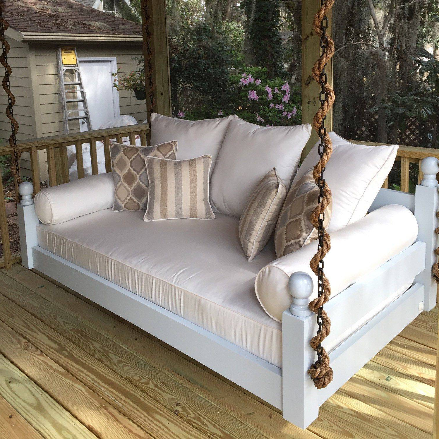 Daybed Porch Swings With Stand With Regard To Famous Porch Swing Cushions Blue Bedrooms Kids Room Inspiring Seat (View 10 of 30)