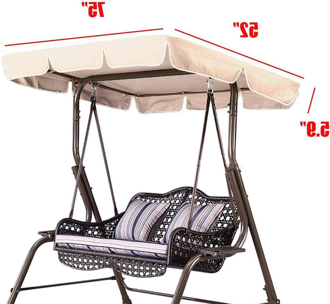 "Ddanke Patio Swing Canopy Top Cover Porch Swings Top Replacement – Waterproof Sunscreen Dustproof 75""x52""x (View 11 of 30)"