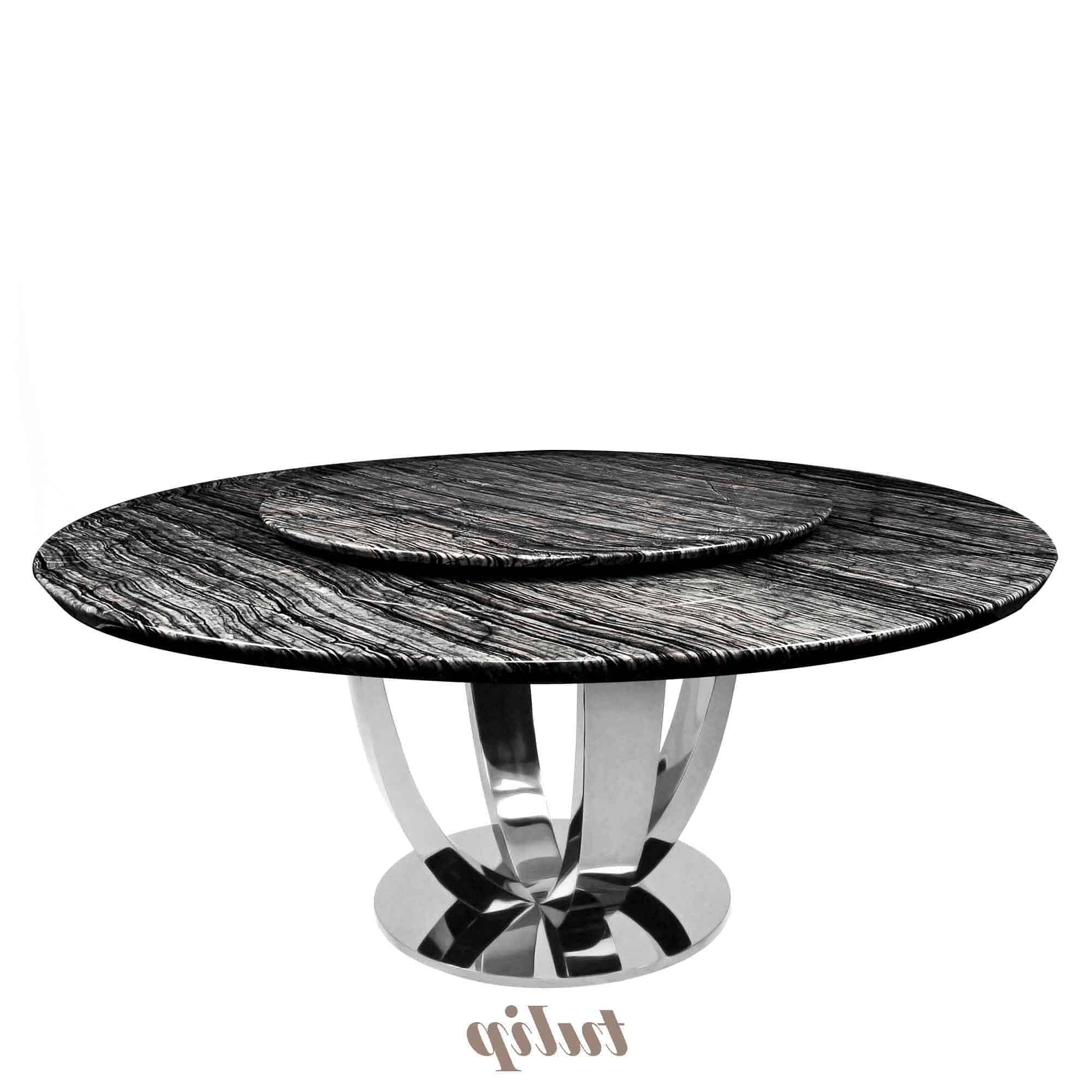 Decasa Round Marble Dining Table Antique Wood Intended For Fashionable Antique Black Wood Kitchen Dining Tables (View 28 of 30)