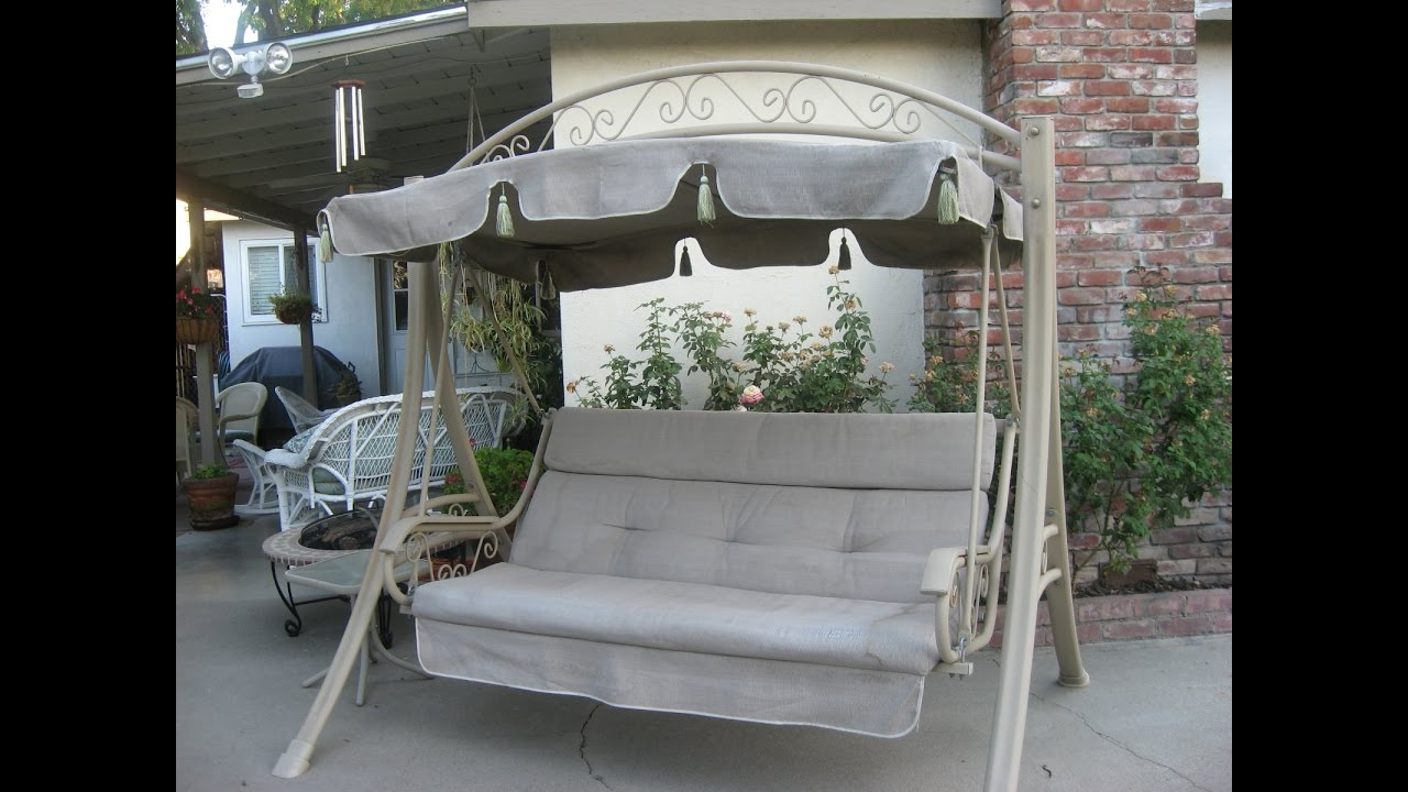 Deluxe Cushion Sunbrella Porch Swings Pertaining To Fashionable Costco Patio Swing Cushions, Seat Support And Canopy Fabric Replacement (View 17 of 30)