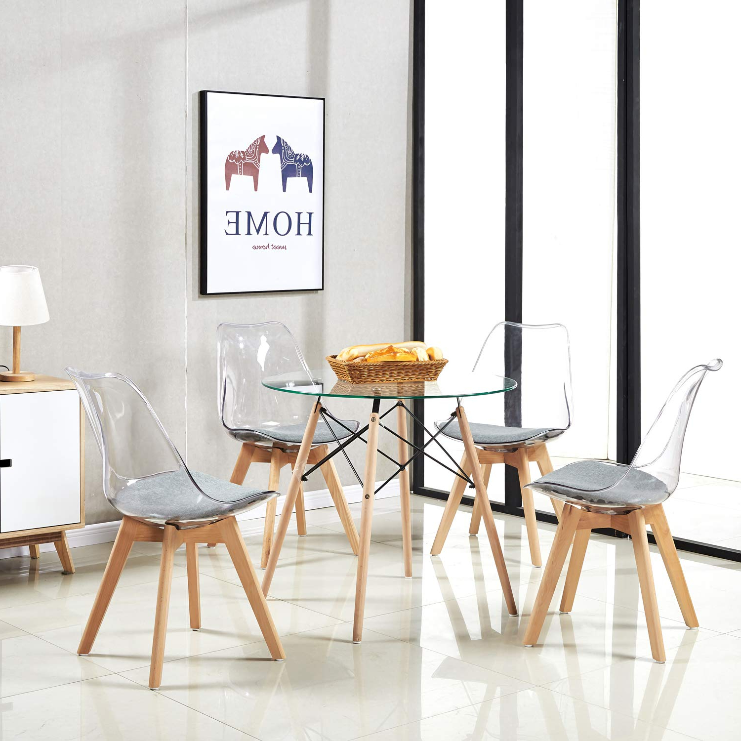 Details About 2/4 X Retro Dining Chairs And Glass Dining Table Round Modern Coffee Table For Popular Retro Round Glasstop Dining Tables (View 10 of 30)