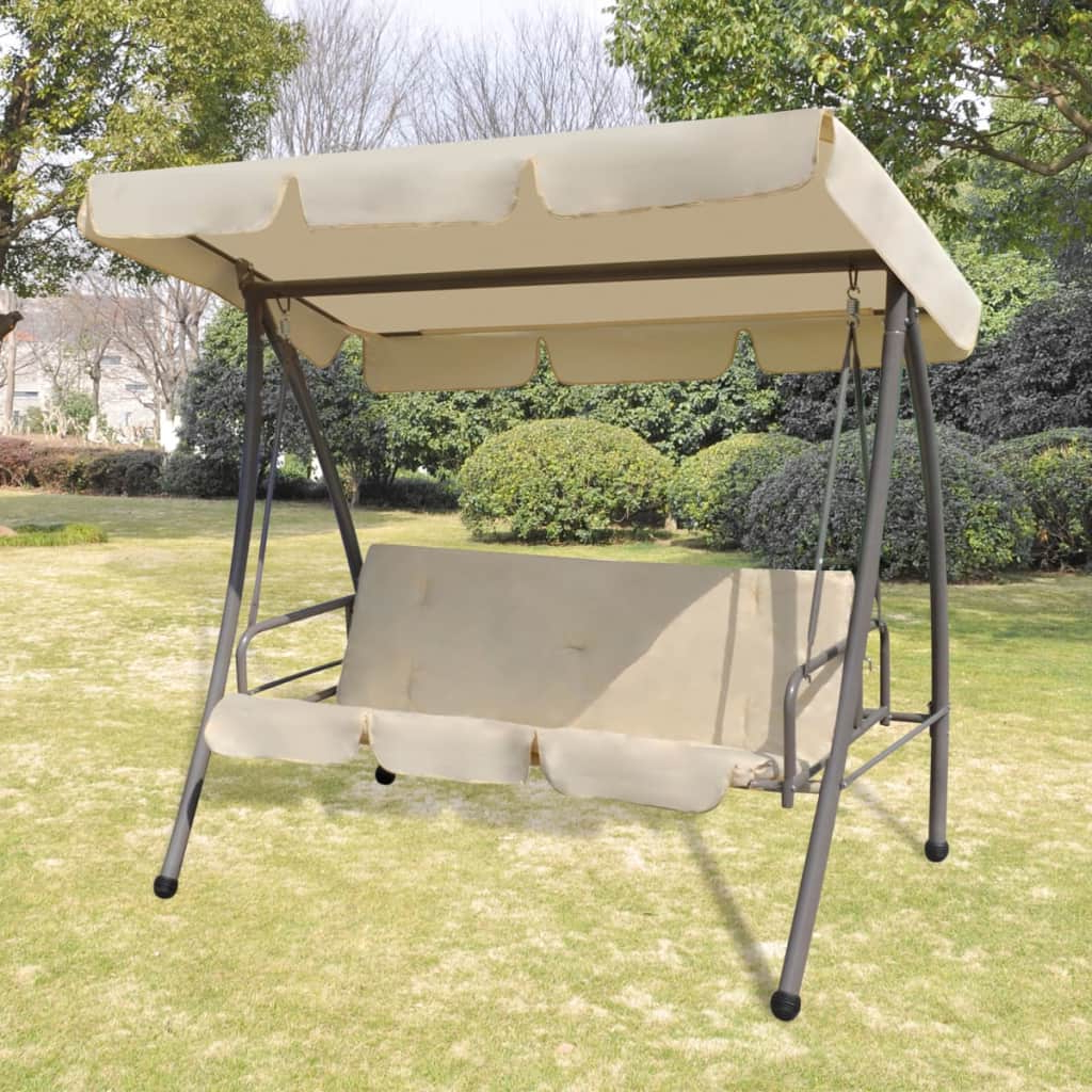Details About 3 Person Outdoor Swing Chair / Bed With Canopy Sand Patio Porch Bed Backyard New Intended For Well Known Patio Gazebo Porch Canopy Swings (View 19 of 30)