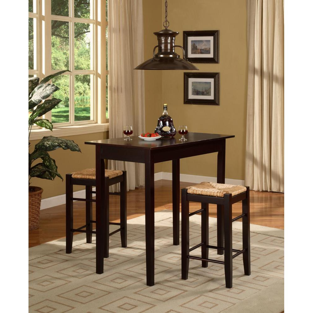 Details About 3 Piece Tavern Solid Wood Table Top Bar Stools Set Kitchen  Counter Dining Chairs Regarding Favorite 3 Pieces Dining Tables And Chair Set (View 15 of 30)