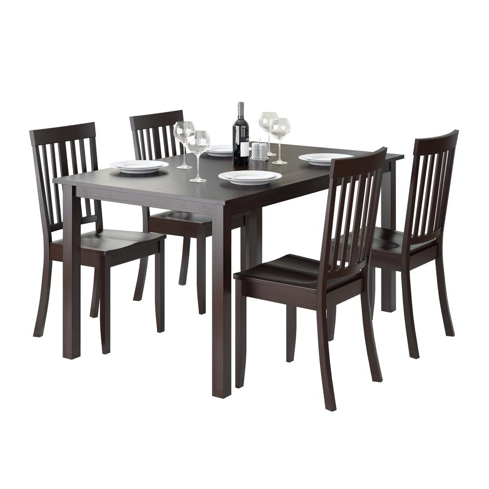 Details About Atwood 5pc Dining Set, With Cappuccino Stained Chairs Inside Trendy Atwood Transitional Rectangular Dining Tables (View 10 of 30)