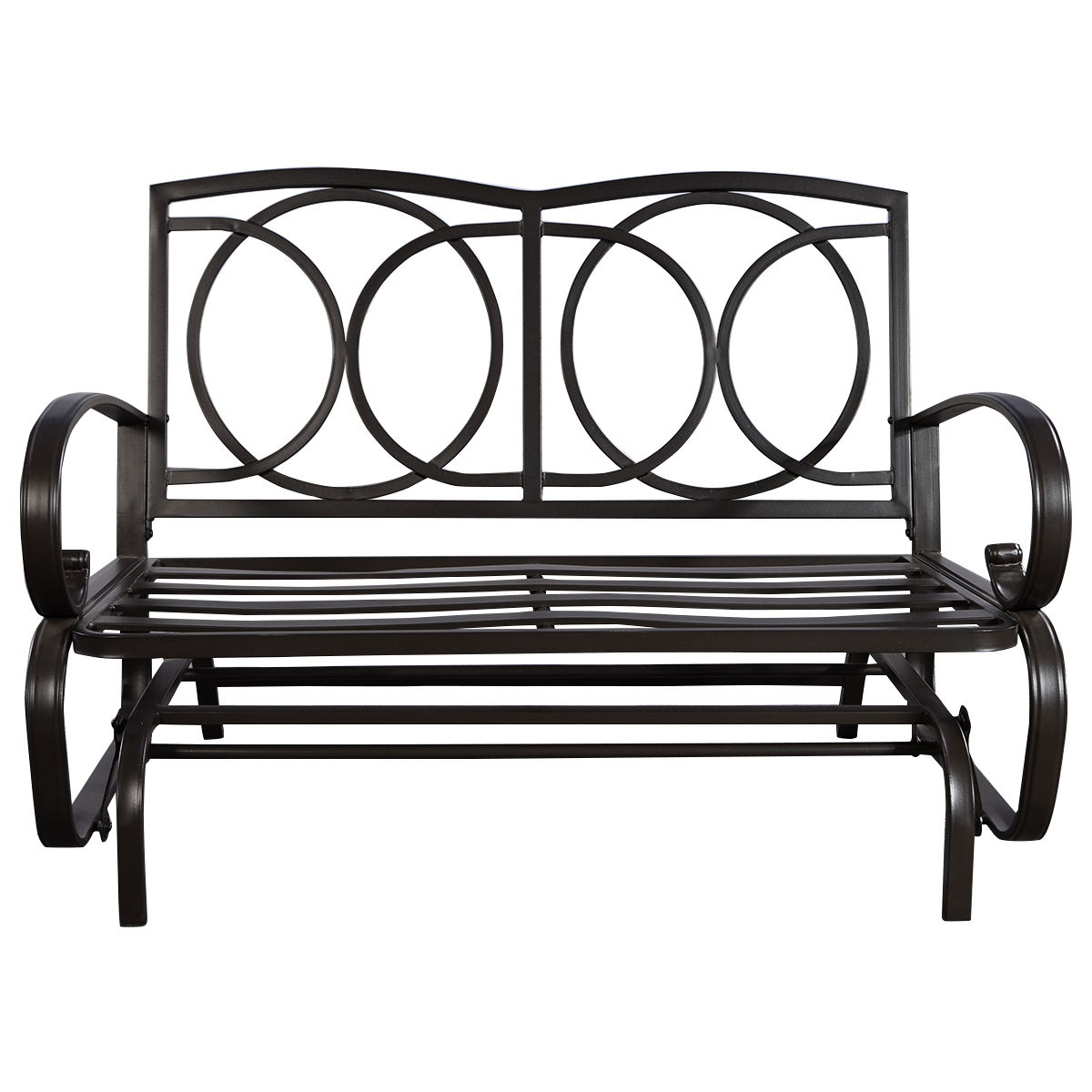 Details About Glider Outdoor Patio Rocking Bench Loveseat Cushioned Seat  Steel Frame Furniture Inside Best And Newest Rocking Love Seats Glider Swing Benches With Sturdy Frame (View 5 of 30)