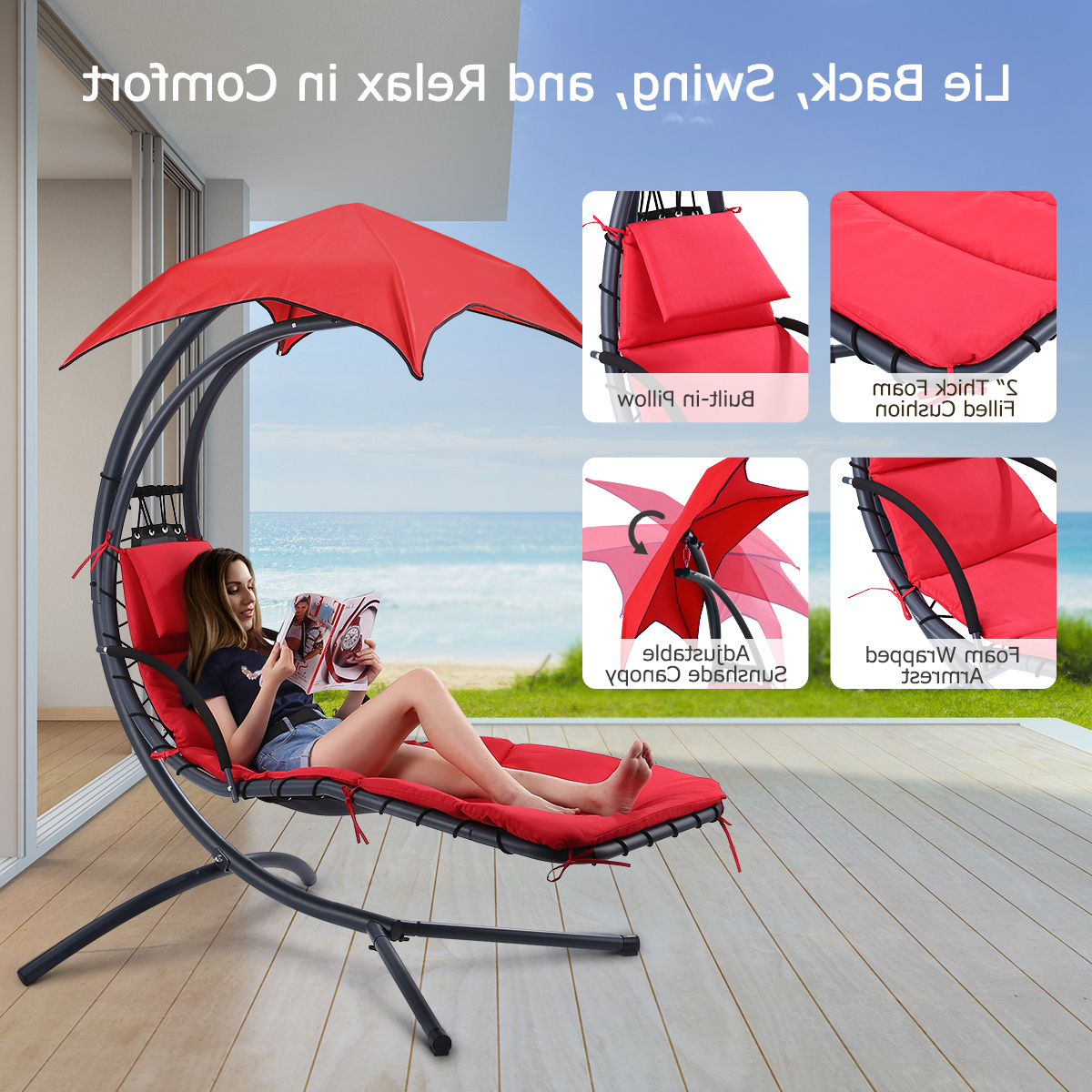 Details About Hammock Hanging Chair Lounge Chaise Indoor Outdoor Yard Patio Canopy Sun Shade With Popular Garden Leisure Outdoor Hammock Patio Canopy Rocking Chairs (View 25 of 30)