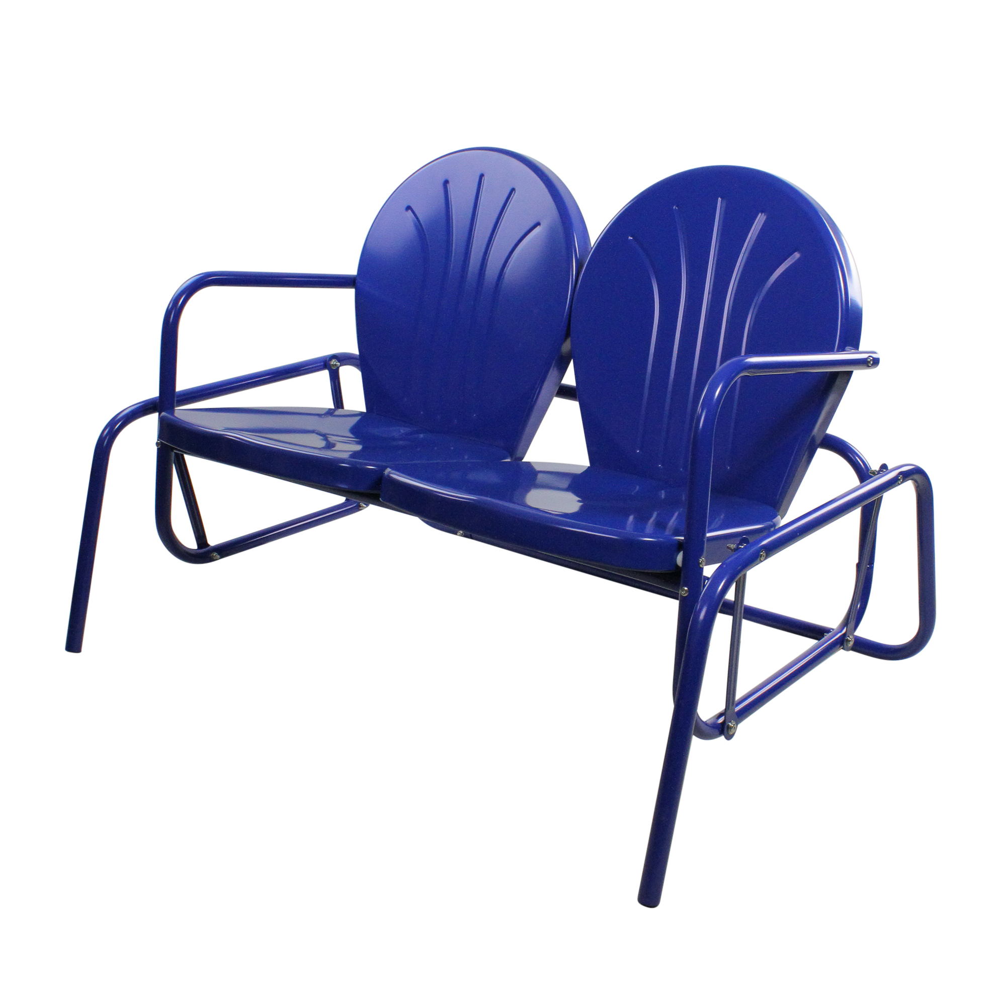 """Details About Lb International 41"""" Electric Blue Retro Metal Tulip Outdoor Double Glider Pertaining To Most Recently Released Outdoor Retro Metal Double Glider Benches (View 9 of 30)"""