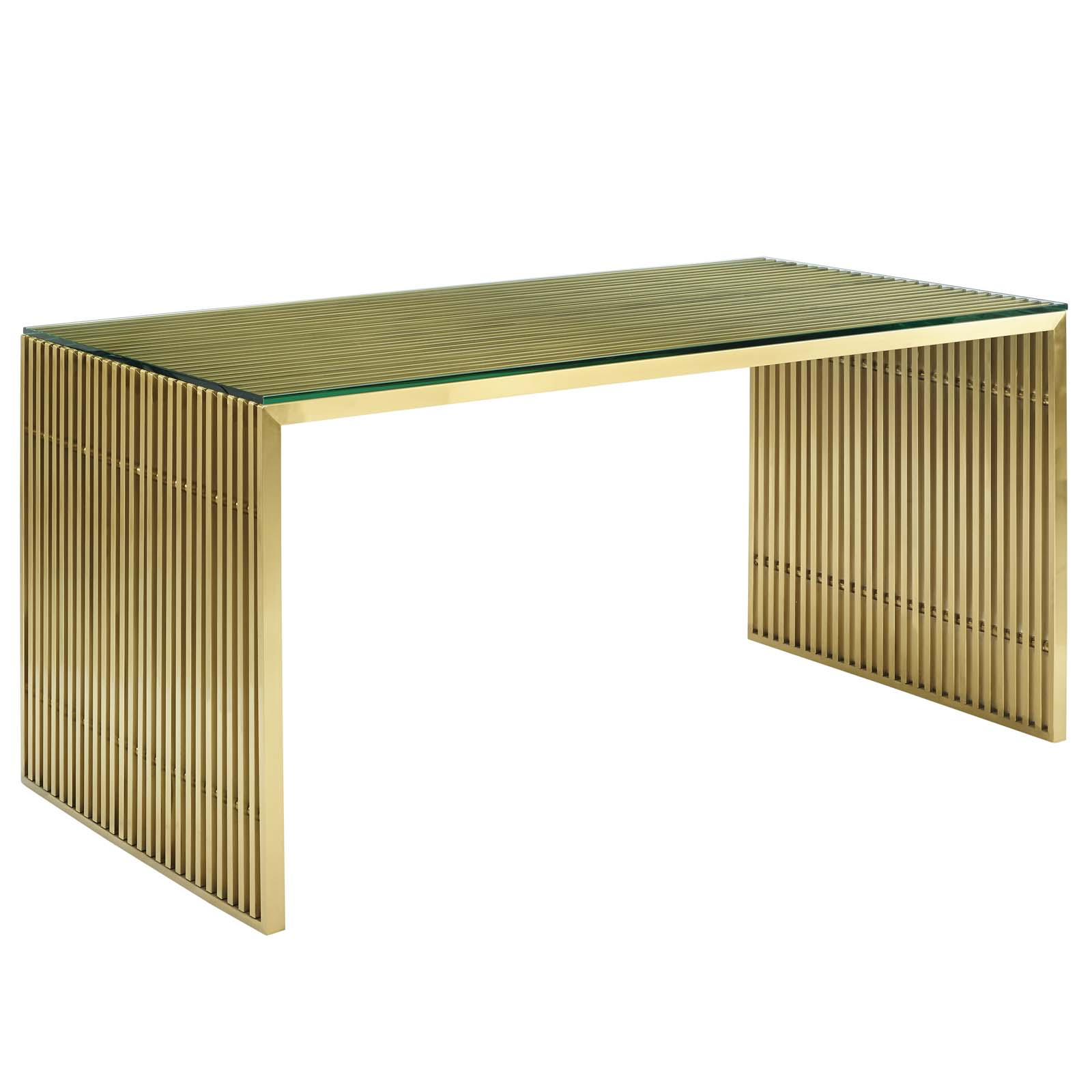 Details About Modern Deco Lounge Dining Table, Metal Steel Stainless Steel Glass, Gold, 14242 For 2018 Steel And Glass Rectangle Dining Tables (View 9 of 30)