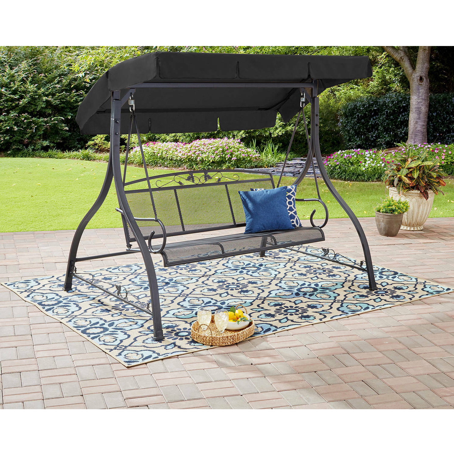 Details About Outdoor 3 Person Swing Set Metal Bench Canopy Patio Porch Loveseat Deck Throughout Latest 2 Person Adjustable Tilt Canopy Patio Loveseat Porch Swings (View 25 of 30)