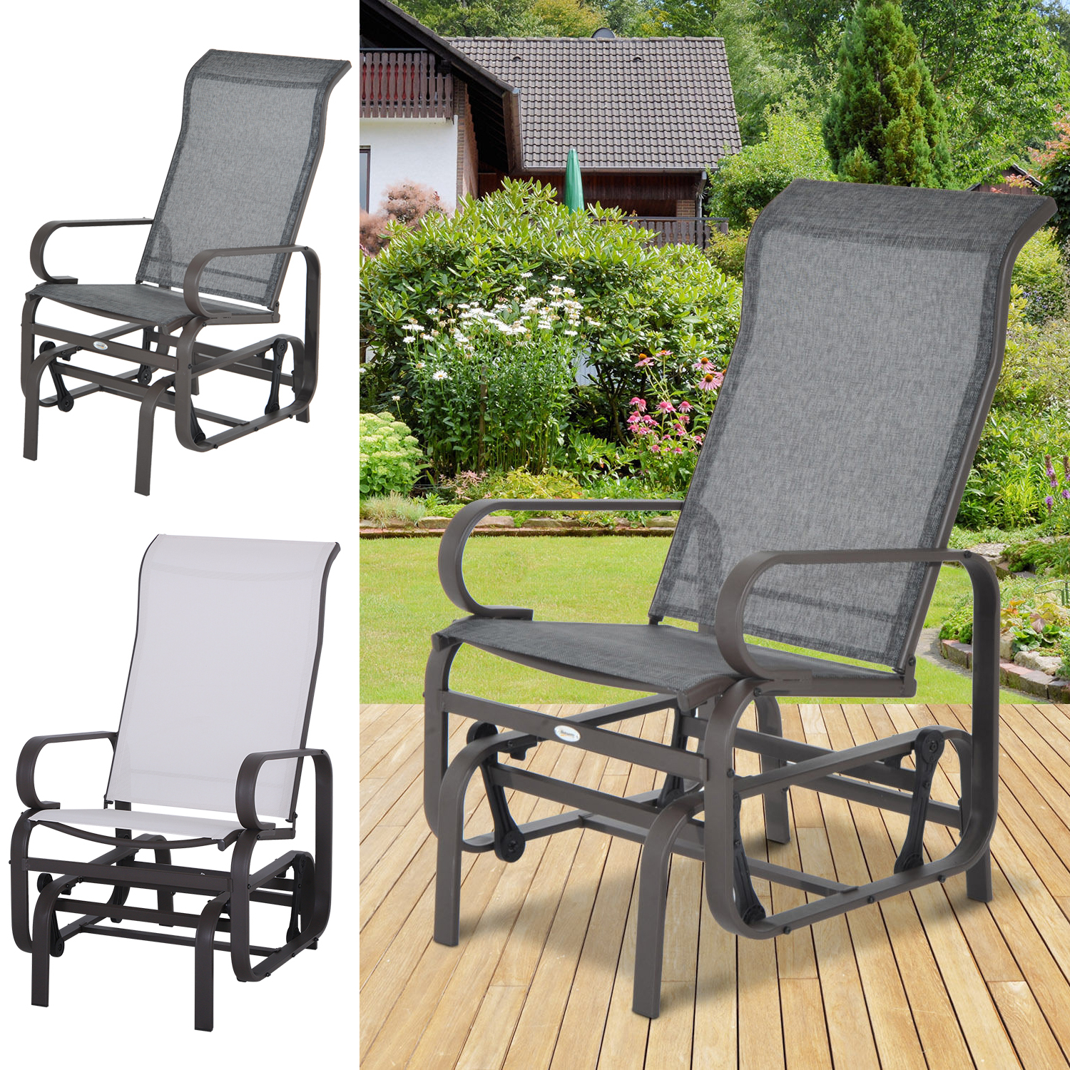 Details About Patio Sling Fabric Glider Swing Chair Seat Lounger Porch Rocker Outdoor Garden For Newest Outdoor Fabric Glider Benches (View 13 of 30)