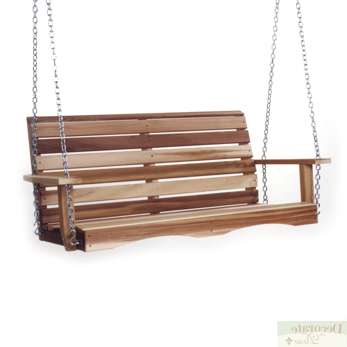 Details About Porch Swing 4 Ft Red Cedar Crafted W/mounting Chain Kit Contoured Back Slats New Intended For Current Porch Swings With Chain (View 6 of 30)
