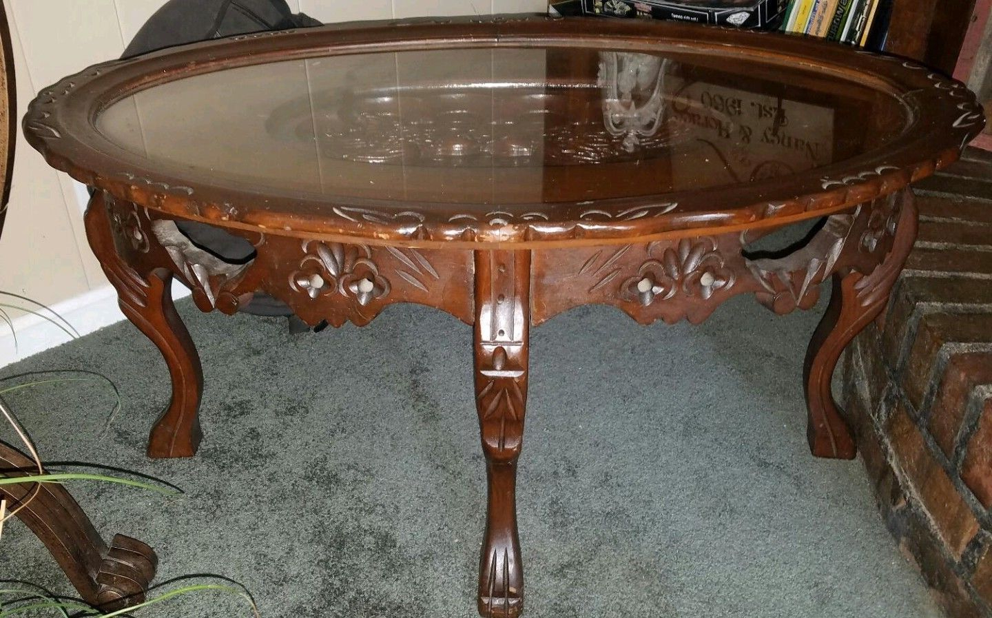 Details About Rare 's Antique Vintage Carved Love Bird Glass Throughout Popular Retro Round Glasstop Dining Tables (View 9 of 30)