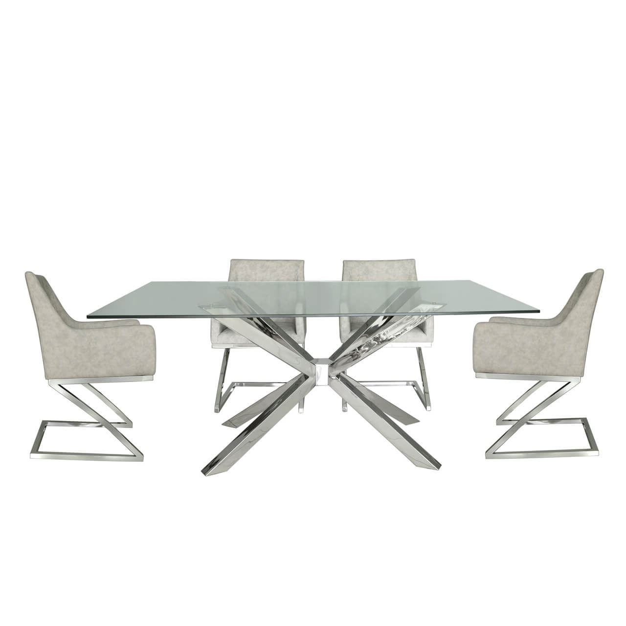Details About Tempered Glass Steel Chrome Chrome And Glass Dining Table & 4 Light Grey Chairs Intended For Trendy Chrome Dining Tables With Tempered Glass (View 23 of 30)