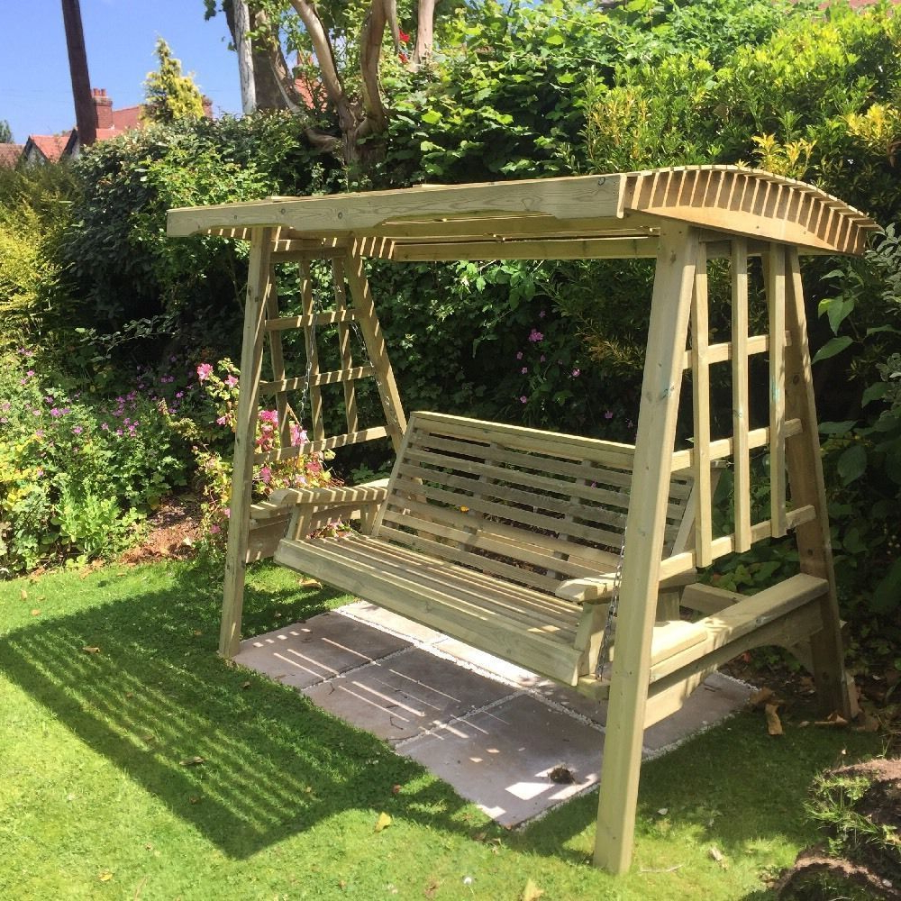 Details About Wooden Garden Swing Adult Swing Seat Hammock Throughout 2019 3 Seat Pergola Swings (View 2 of 30)