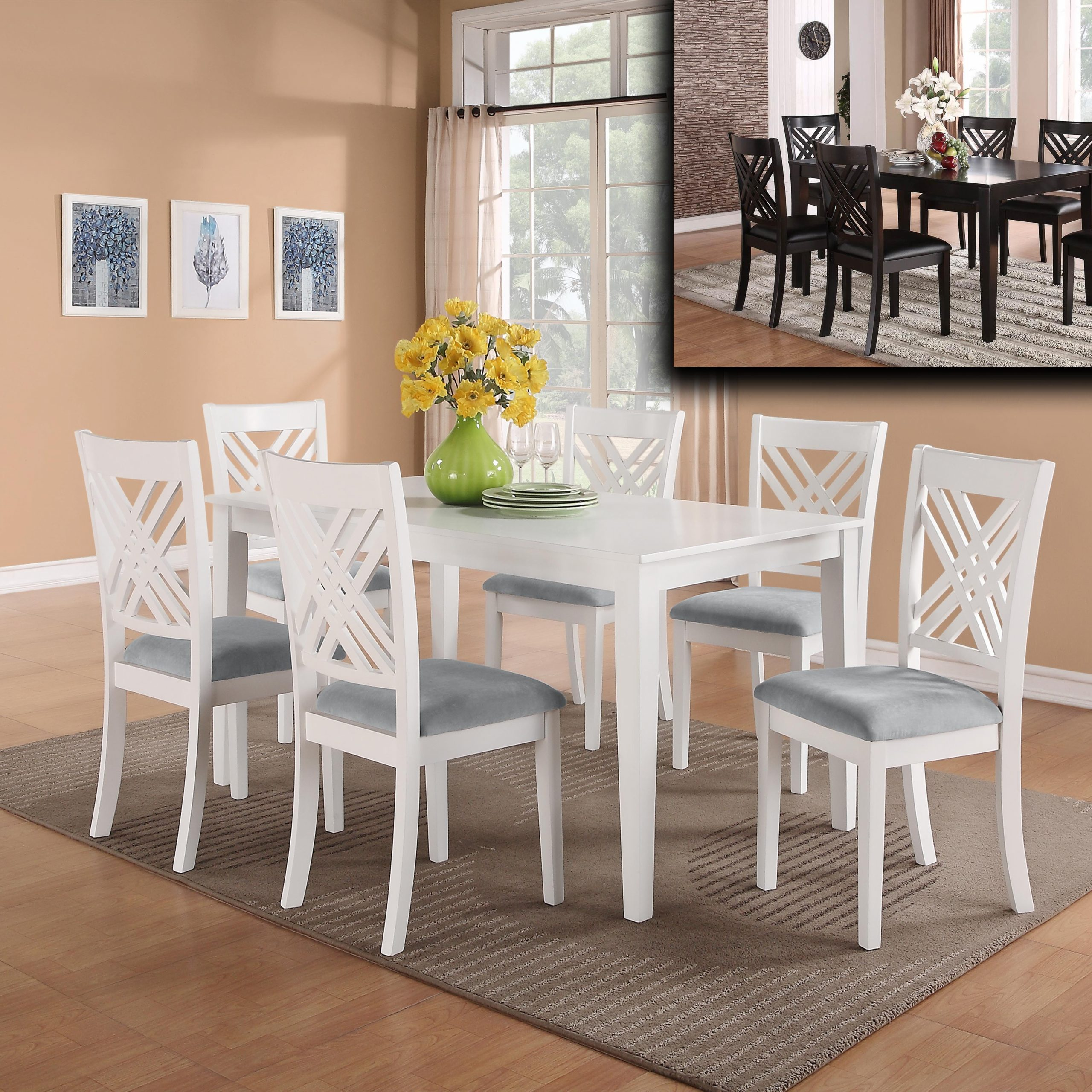 Dinette Sets And Chairs Home Decor Clipgoo White Kitchen Intended For Most Popular Dom Round Dining Tables (View 25 of 30)