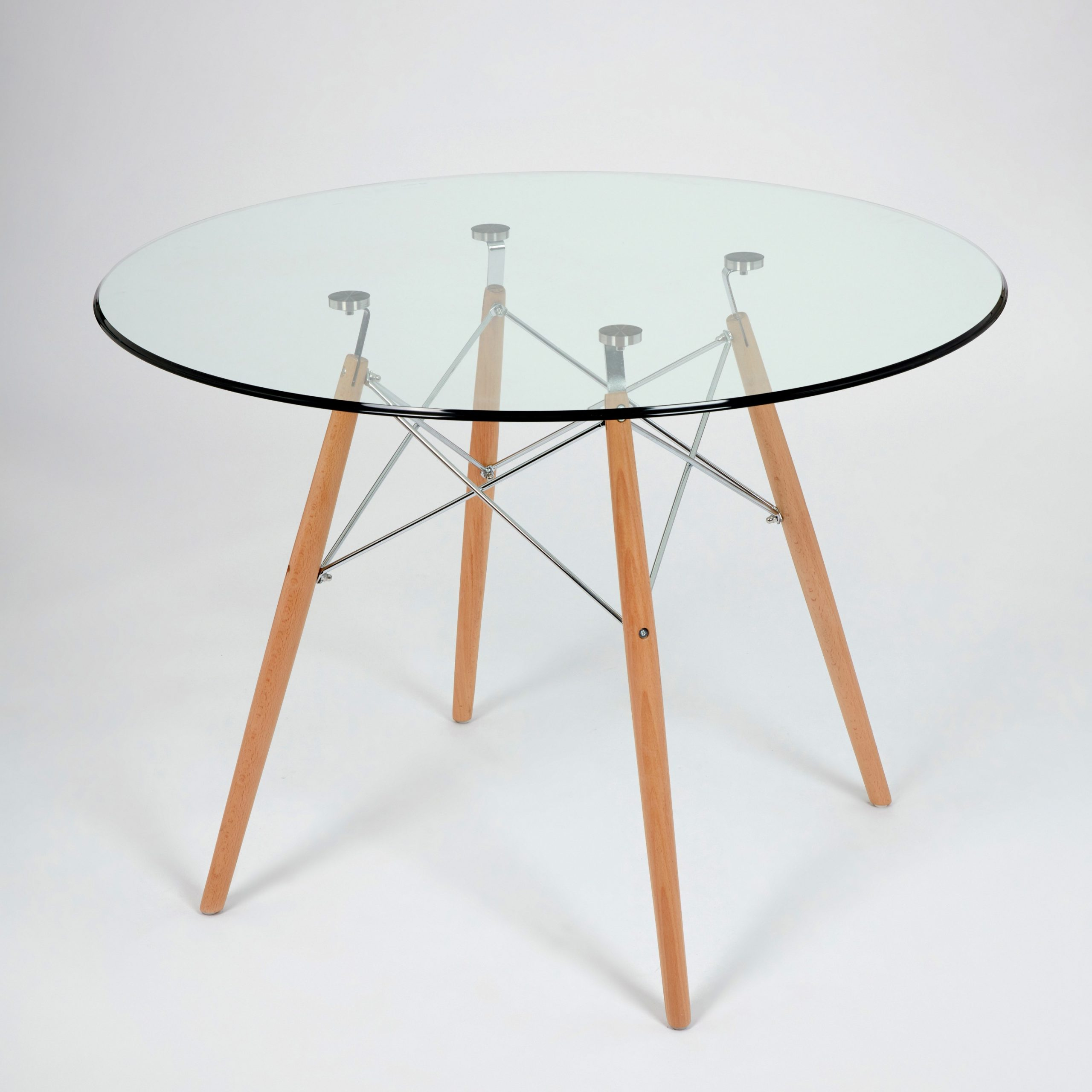 Dining Glass Table With Beechwood Legs (Size: 100Cm Throughout Well Known Eames Style Dining Tables With Chromed Leg And Tempered Glass Top (View 4 of 30)