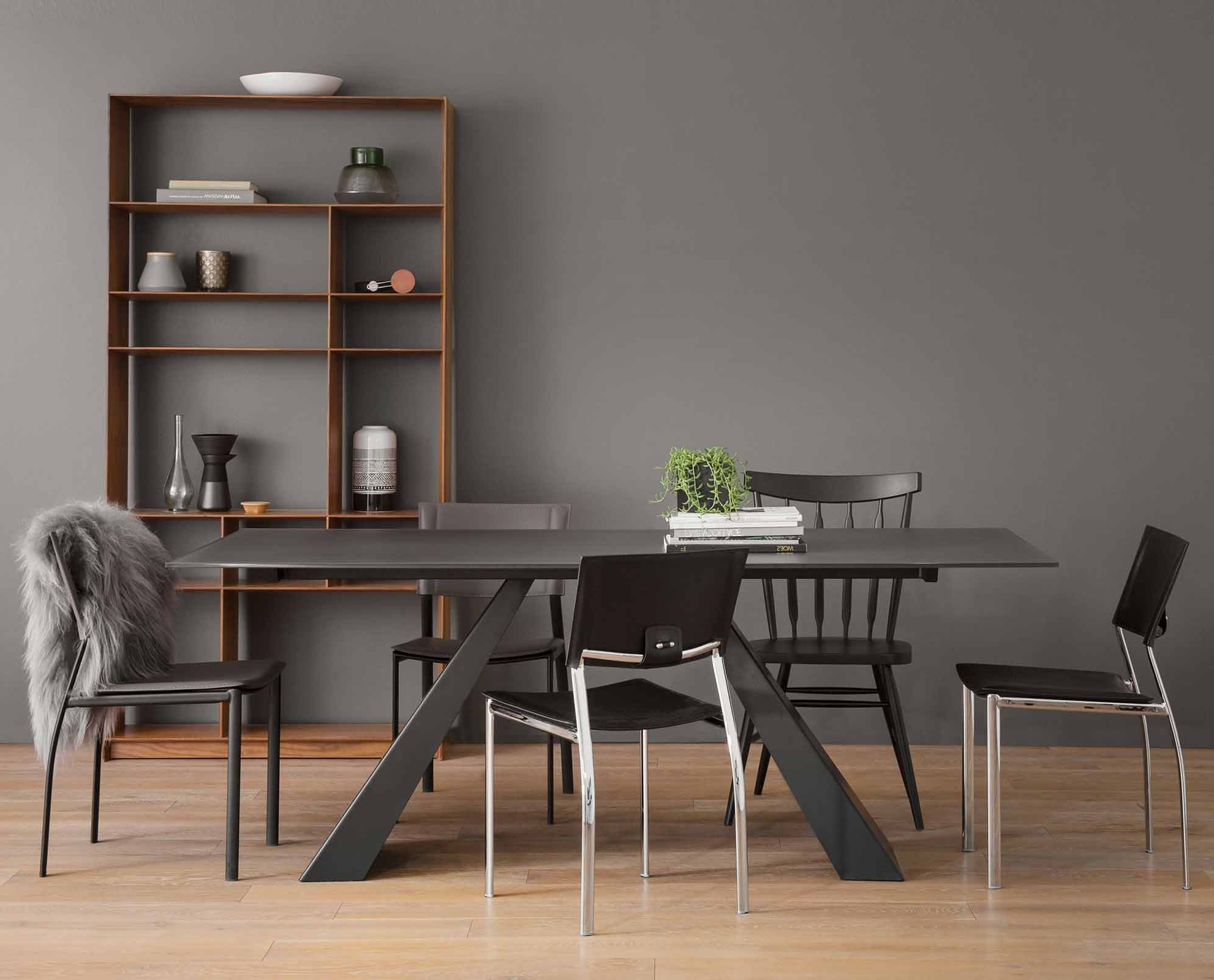 Dining Room Chairs, Dining Room In Frosted Glass Modern Dining Tables With Grey Finish Metal Tapered Legs (View 3 of 30)