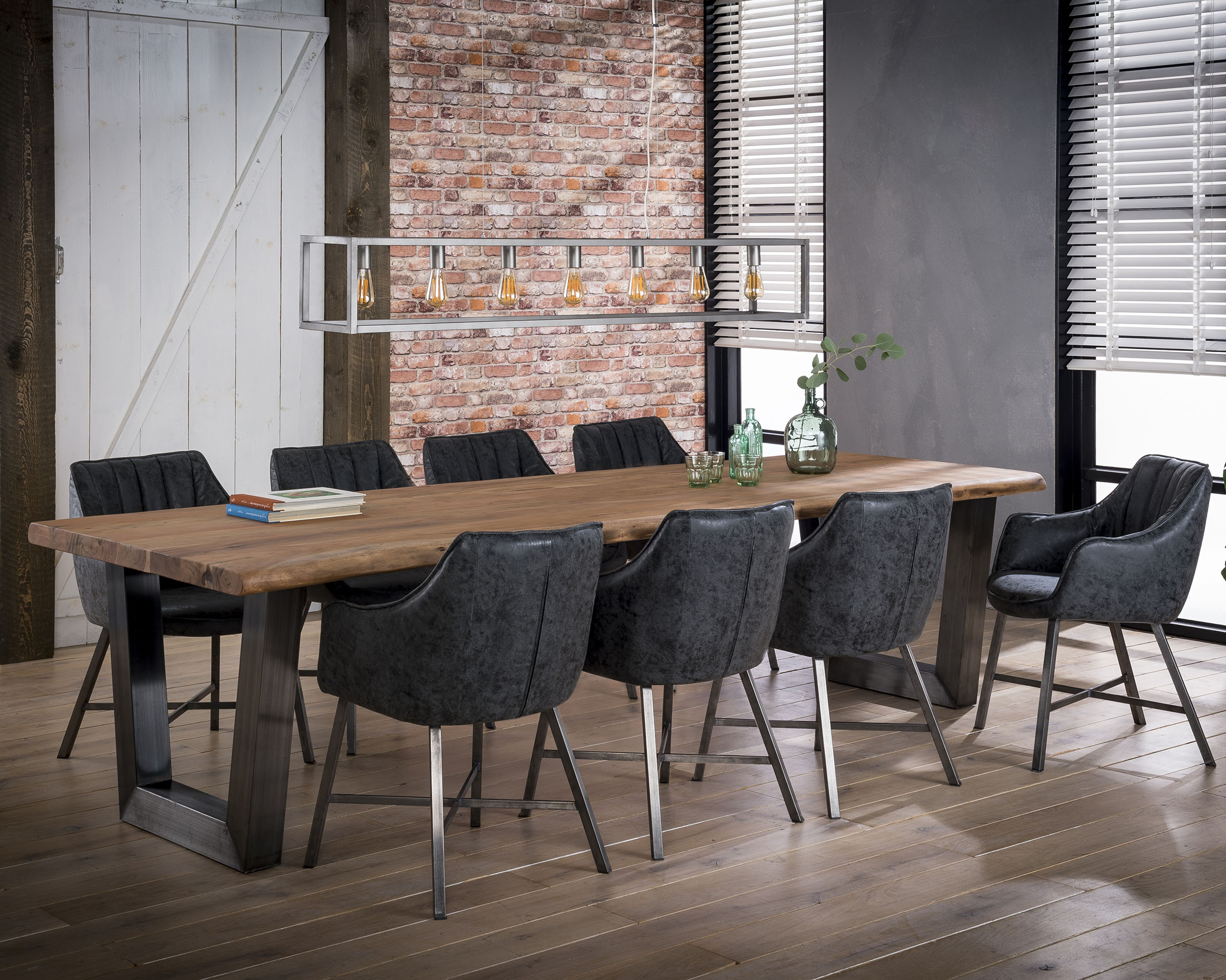 Dining Table 300cm Log In 60mm Thick Solid Acacia With Intended For Well Liked Dining Tables With Brushed Stainless Steel Frame (View 15 of 30)