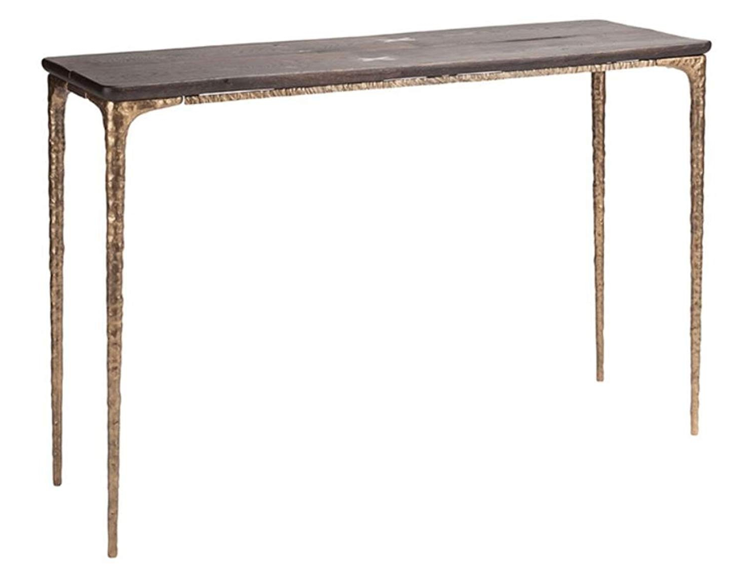 Dining Tables In Seared Oak With Brass Detail For Most Up To Date Amazon: Kulu Console In Seared Oak And Bronze Legs (View 21 of 30)