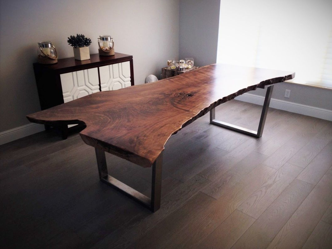 Dining Tables With Black U Legs Regarding Most Recent Live Edge Walnut Dining Table With Black Tapered U Shaped (View 9 of 30)