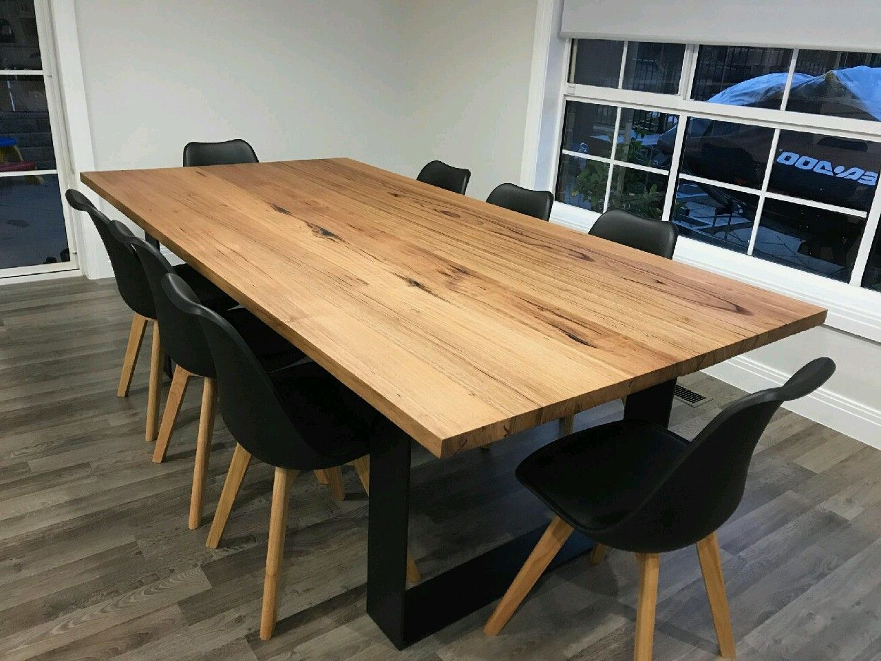 Dining Tables With Black U Legs Throughout Most Current Recycled Messmate Dining Table With Black Flat Bar Metal (View 11 of 30)