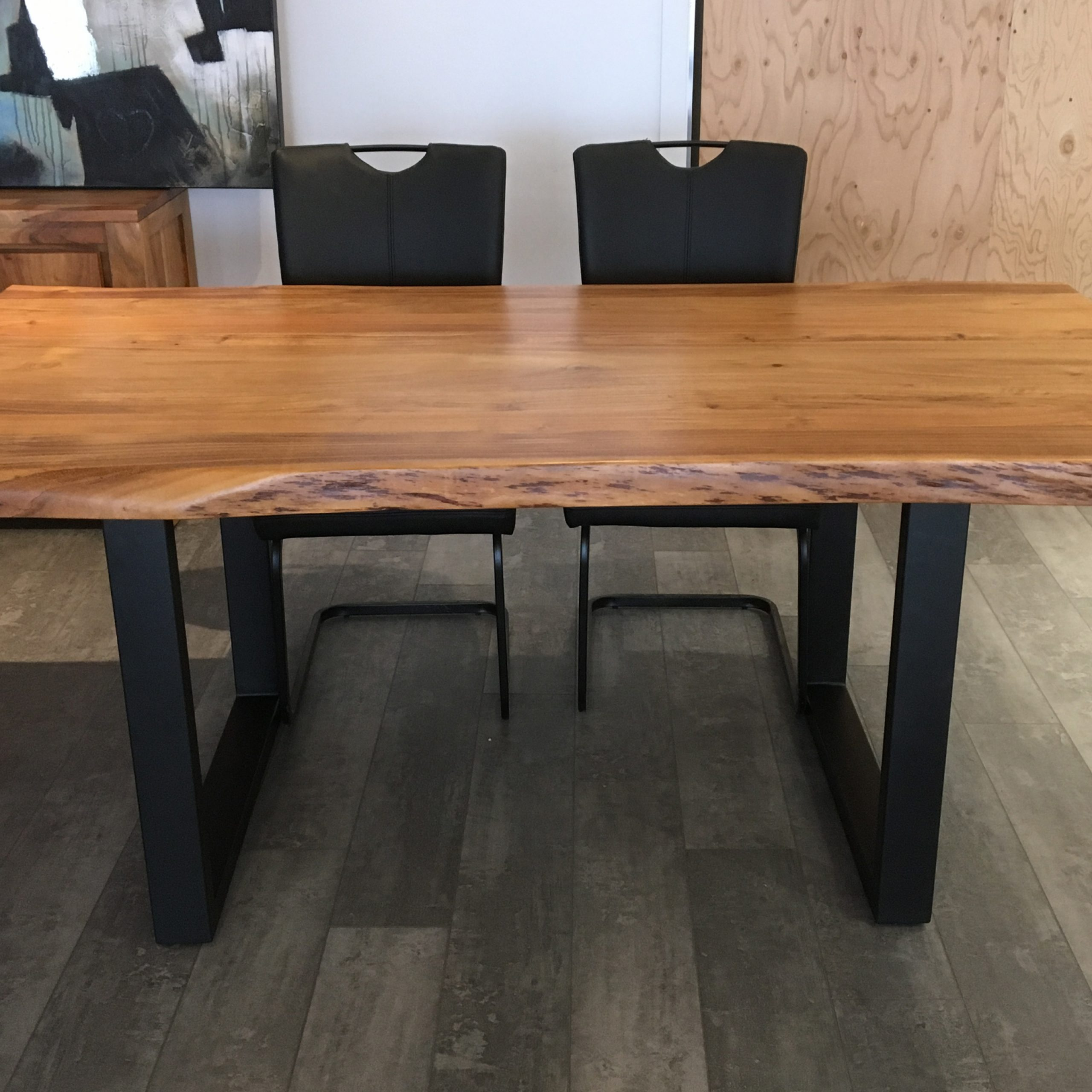 """Dining Tables With Black U Legs Within Well Known Corcoran Acacia Live Edge Dining Table With Black U Legs – 72"""" (View 16 of 30)"""