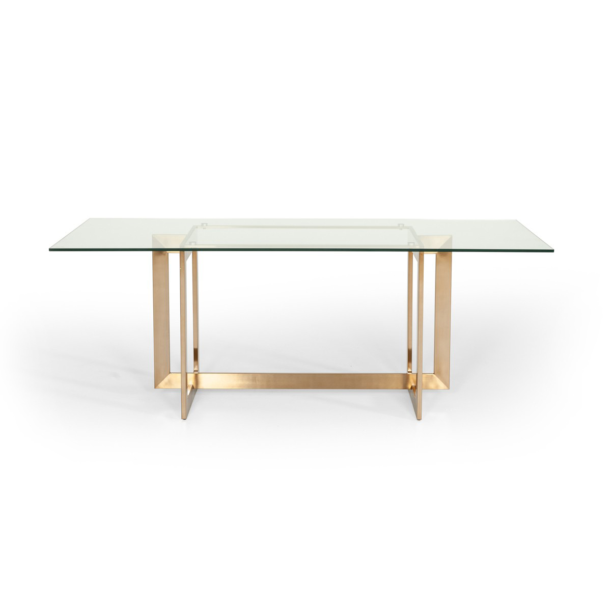 Dining Tables With Brushed Gold Stainless Finish Throughout Fashionable Lena Dining Table (View 10 of 30)
