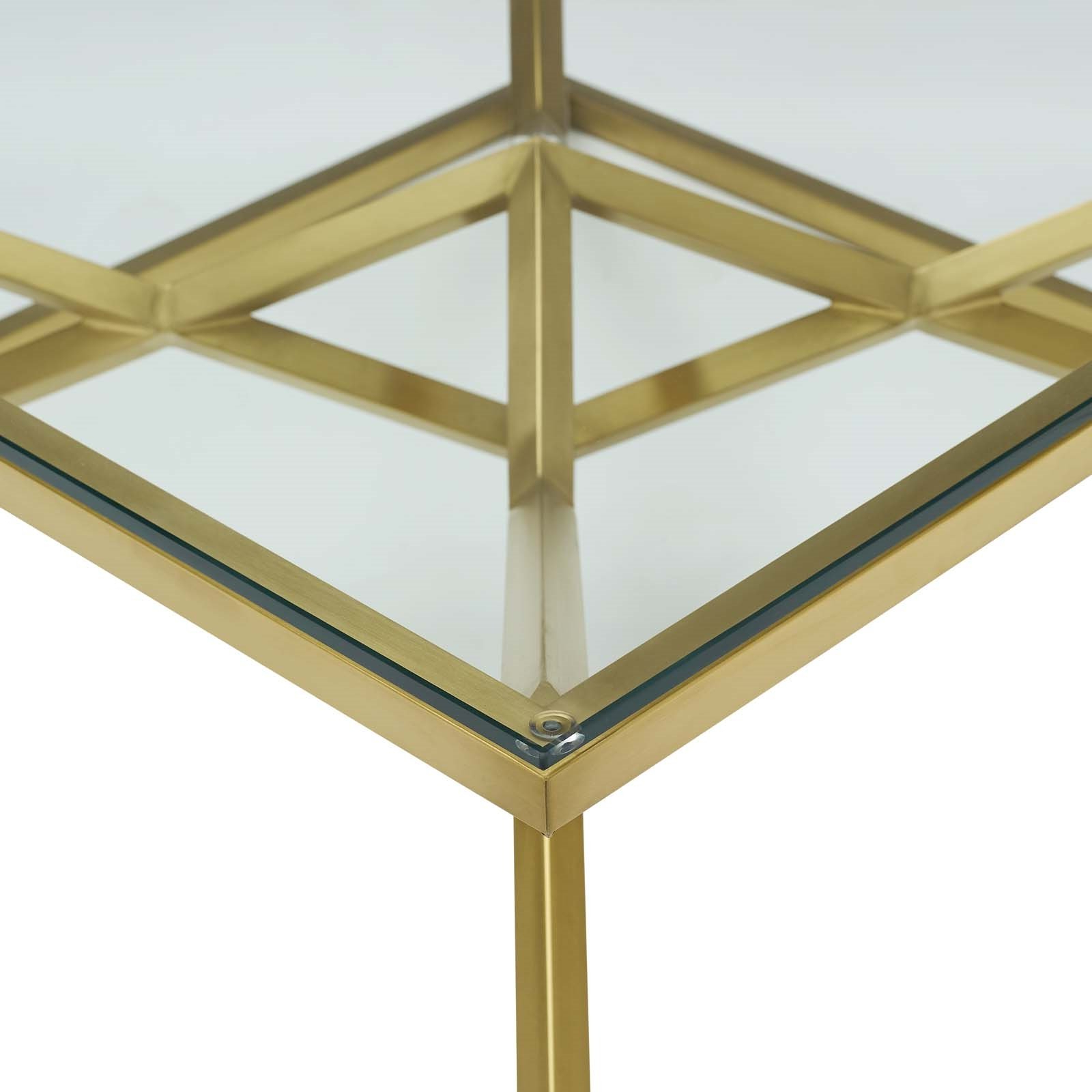 Dining Tables With Brushed Gold Stainless Finish With Regard To Favorite Point (View 14 of 30)