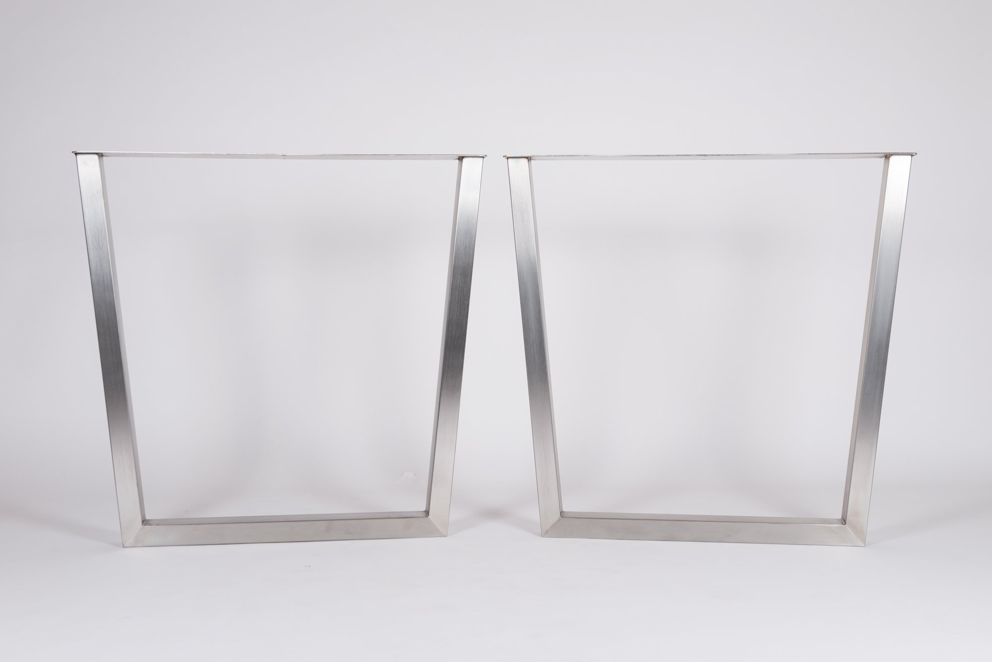 Dining Tables With Brushed Stainless Steel Frame In Most Recently Released 2x Brushed Stainless Steel Reversed Trapezium Metal Dining (View 28 of 30)