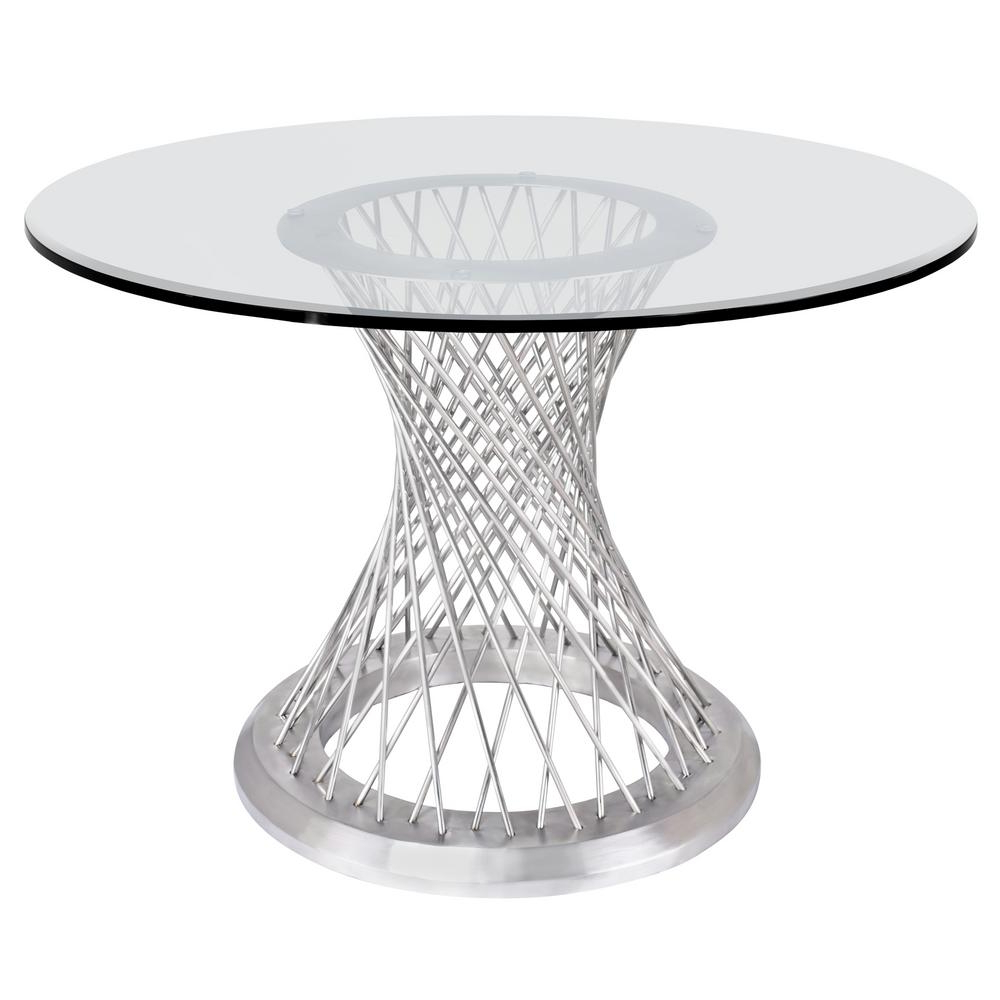 Dining Tables With Brushed Stainless Steel Frame Inside Latest Armen Living Calypso Glass Dining Table Lccpdibabs – The (View 16 of 30)