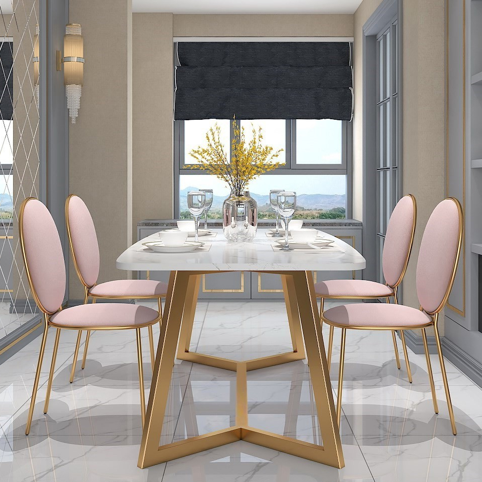Dining Tables With White Marble Top Pertaining To Fashionable Modern Stylish Design Rectangular Dining Table In Gold With White Faux Marble Top (View 29 of 30)