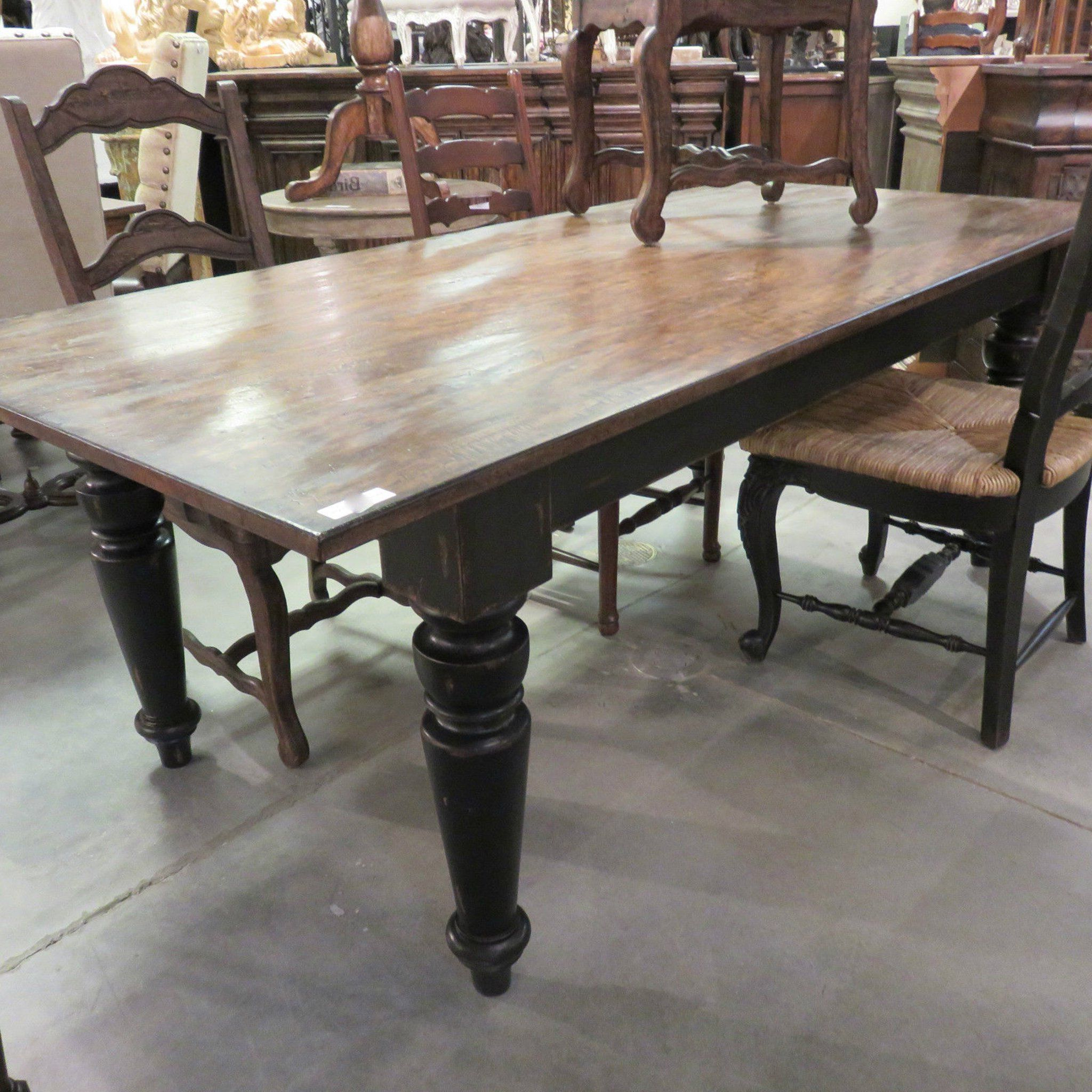 """Distressed Grey Finish Wood Classic Design Dining Tables For 2017 Rustic Farmhouse Dining Table 72"""" Black Distressed Reclaimed (View 7 of 30)"""