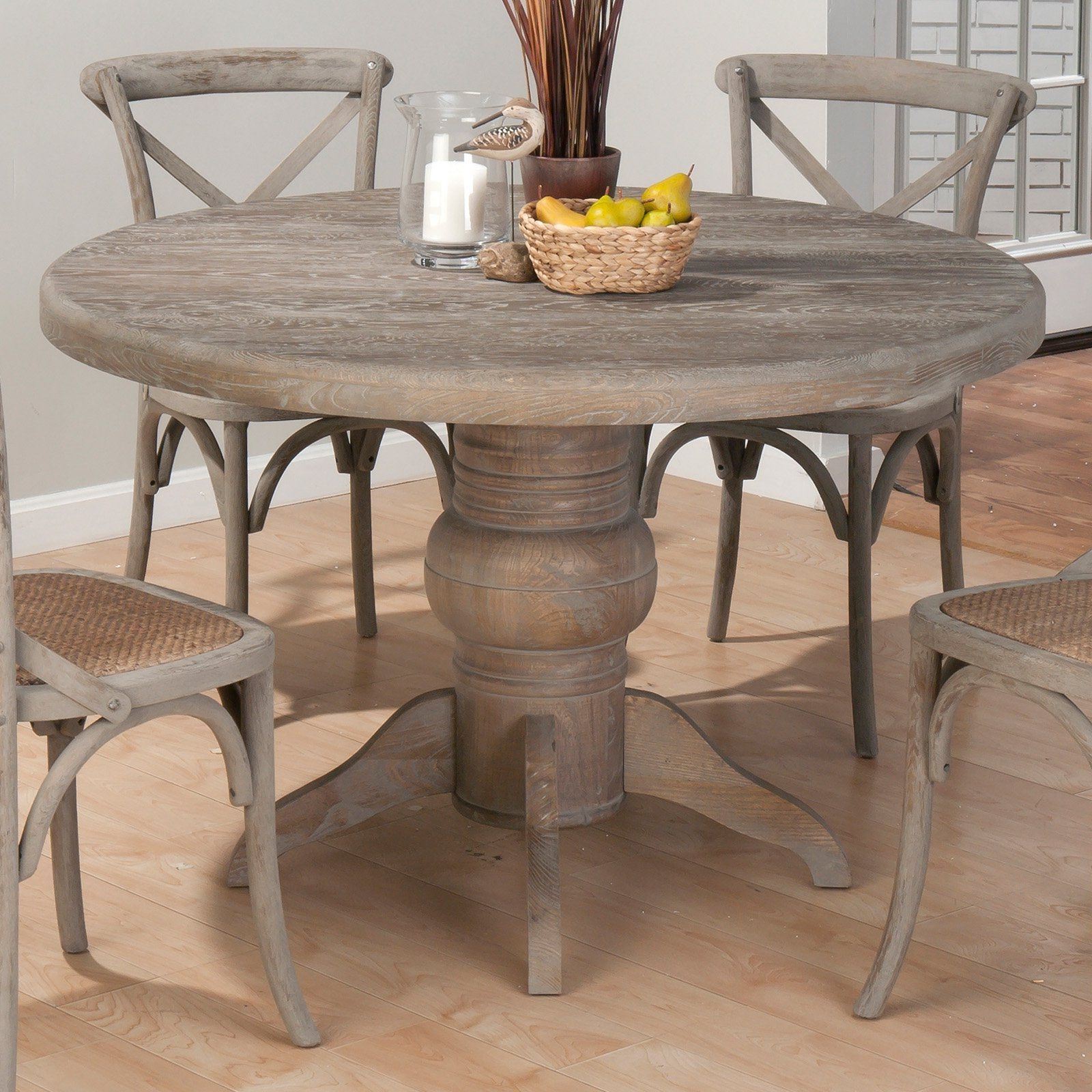 Distressed Grey Finish Wood Classic Design Dining Tables With Regard To Preferred Jofran Booth Bay Round Pedestal Dining Table – With A (View 27 of 30)